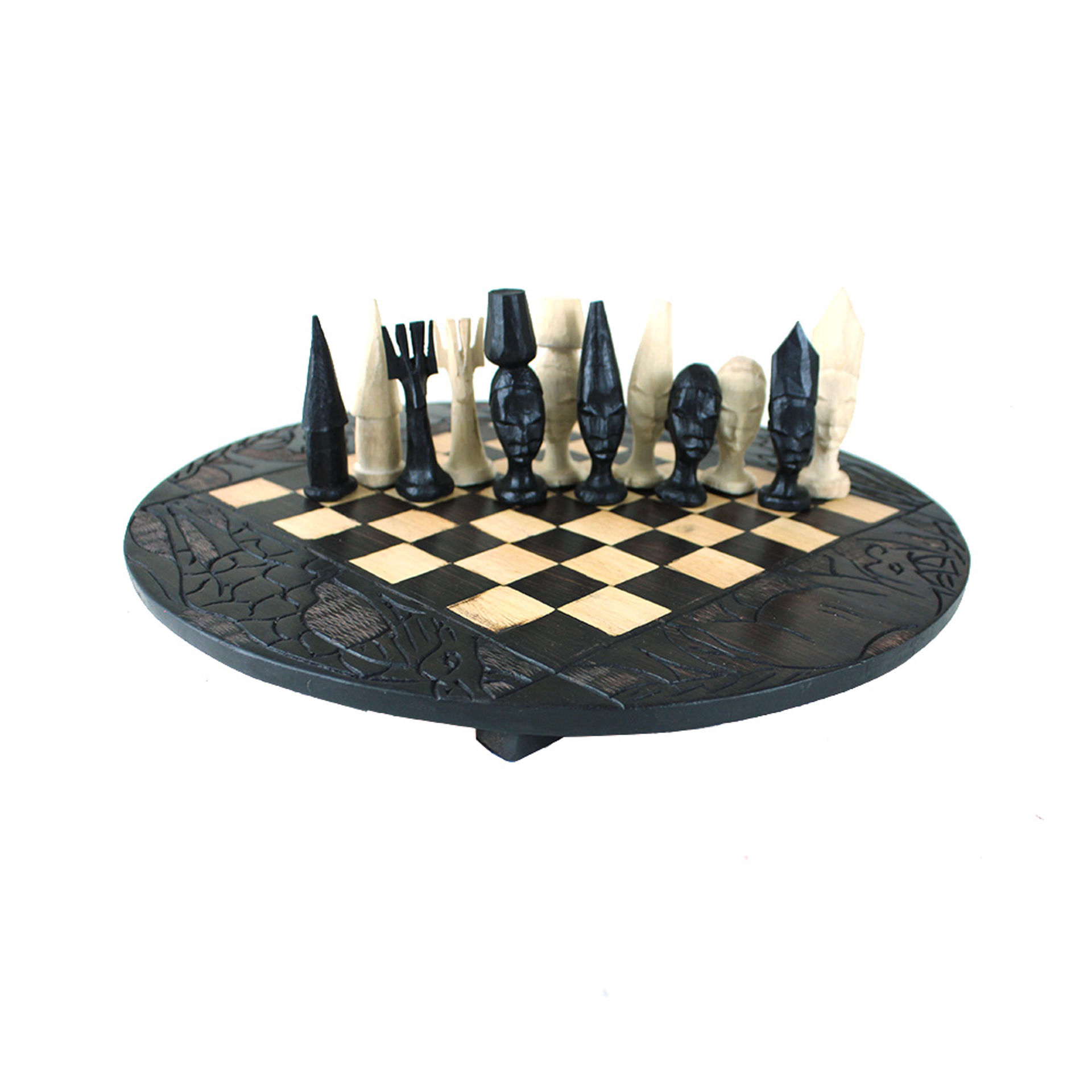 Picture of Makonde Chess Set [2] Round Board