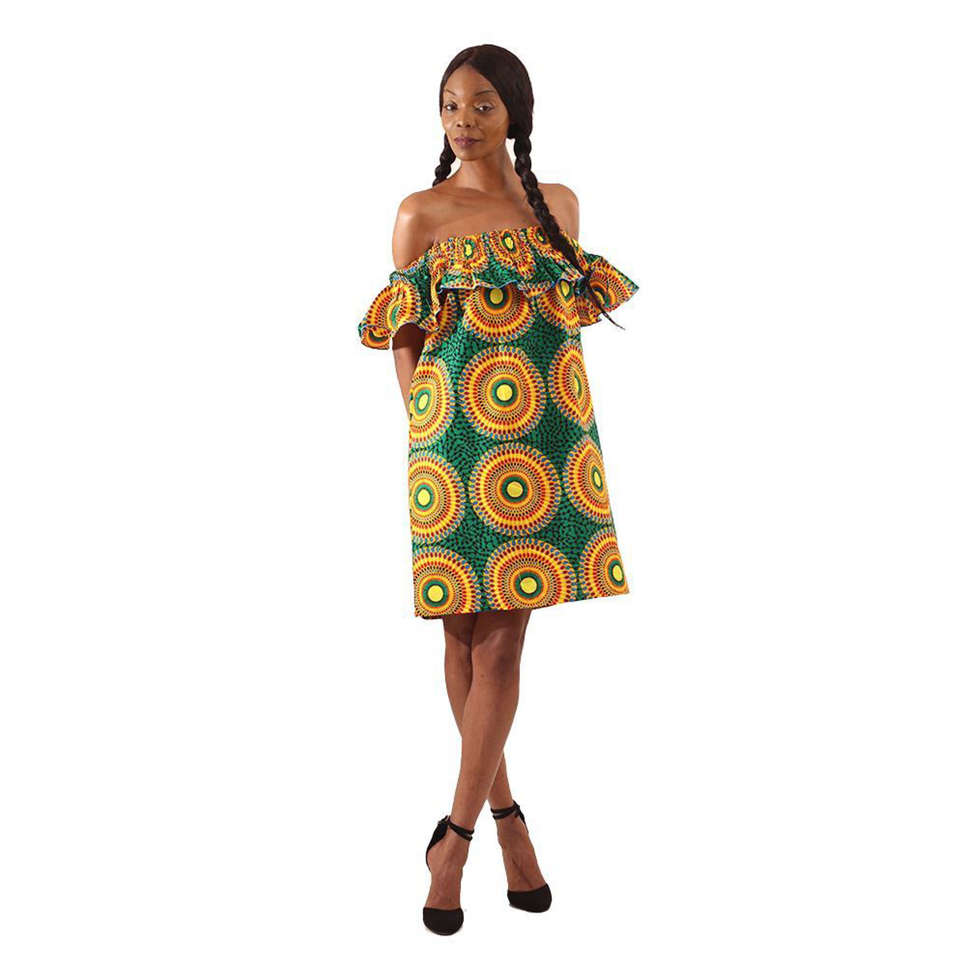 Picture of African Circle Print Short Dress: Green