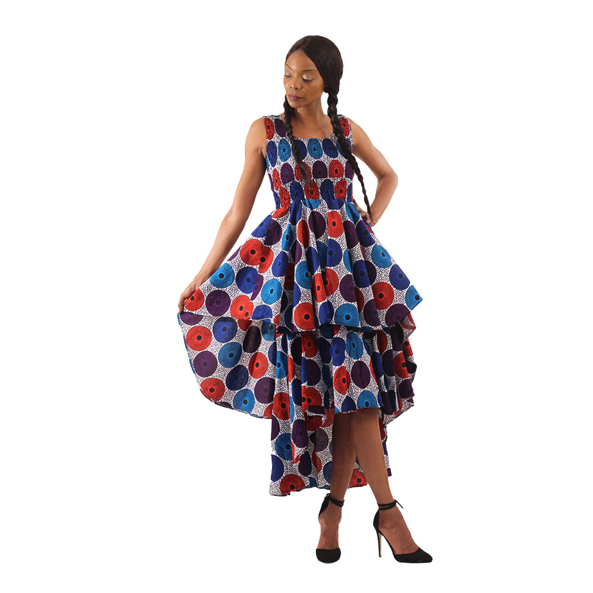 Picture of White/Blue Circle Print Hi-Lo Tier Dress