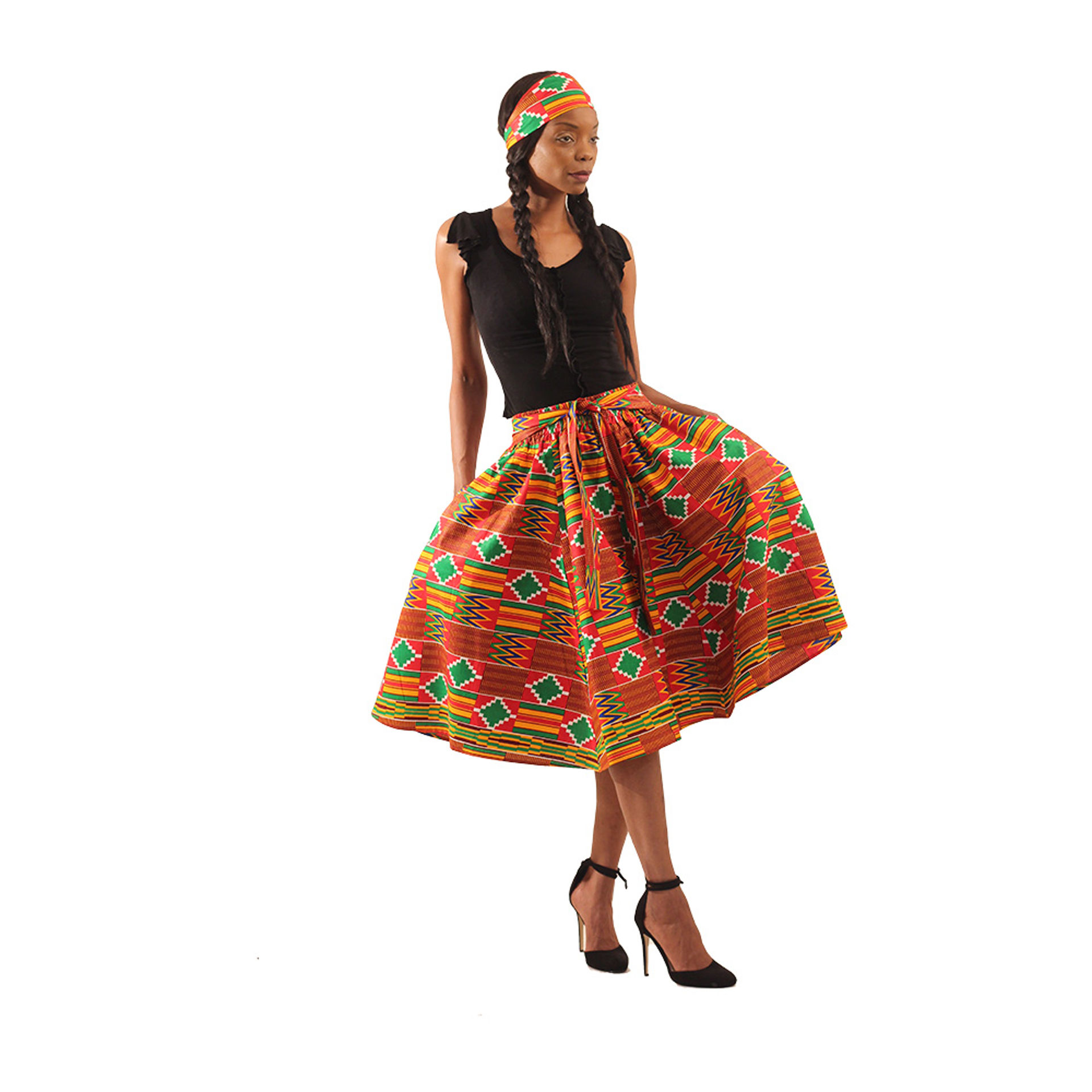 Picture of Red Kente Elastic Skirt