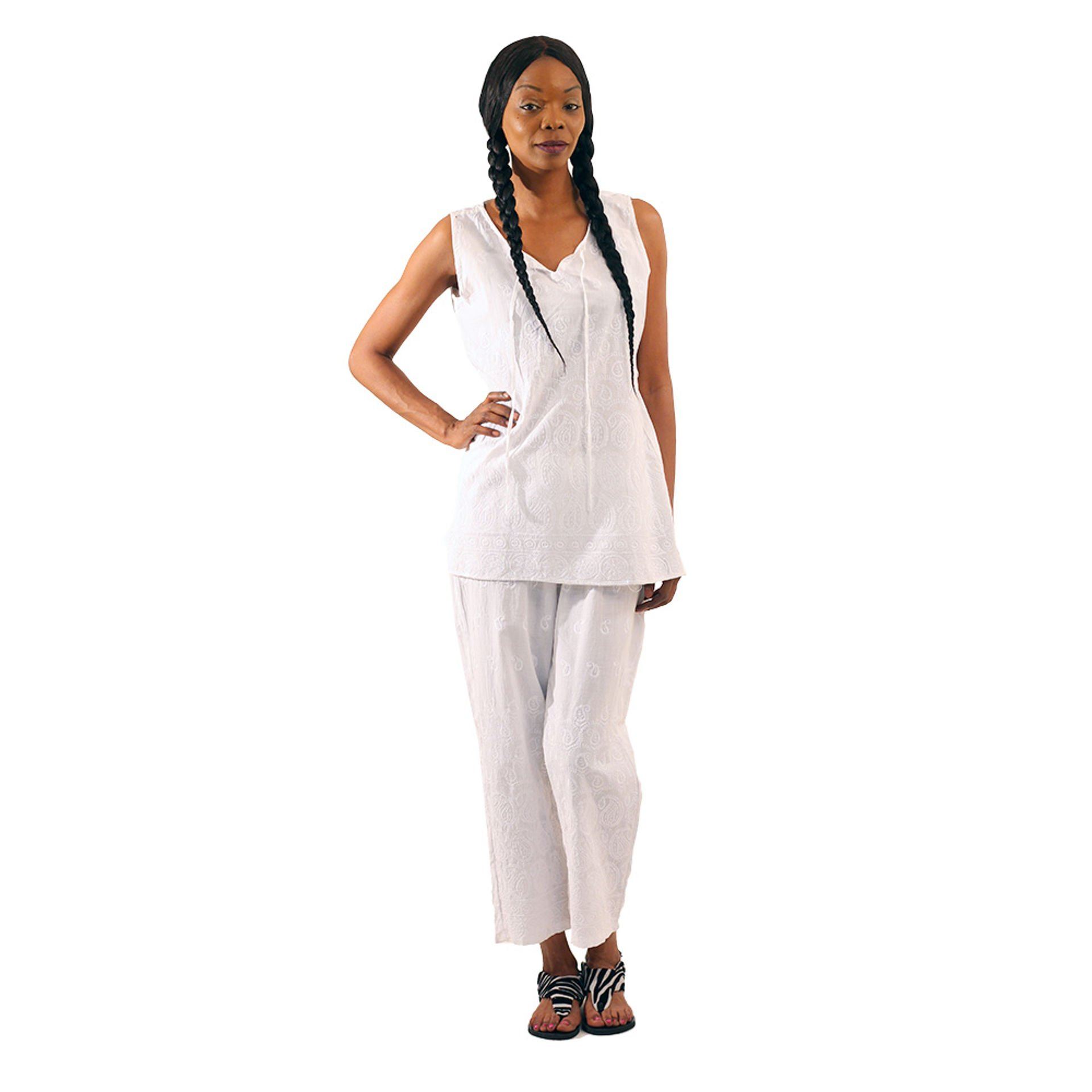 Picture of Shimmering White Embroidered Pant Set