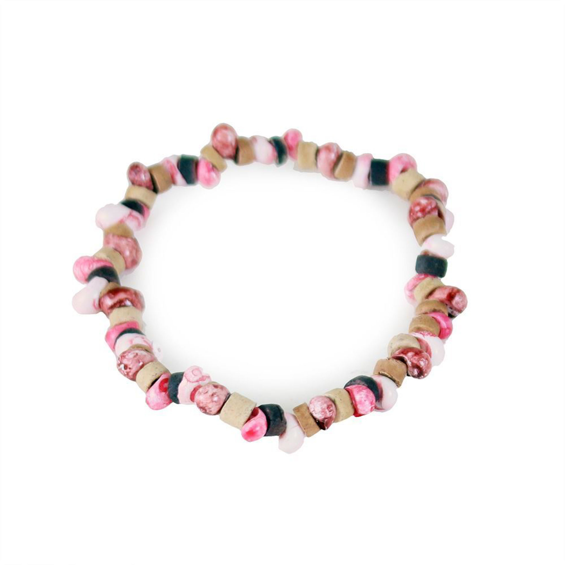 Picture of Set Of 12 Natural/Pink Bead Bracelets