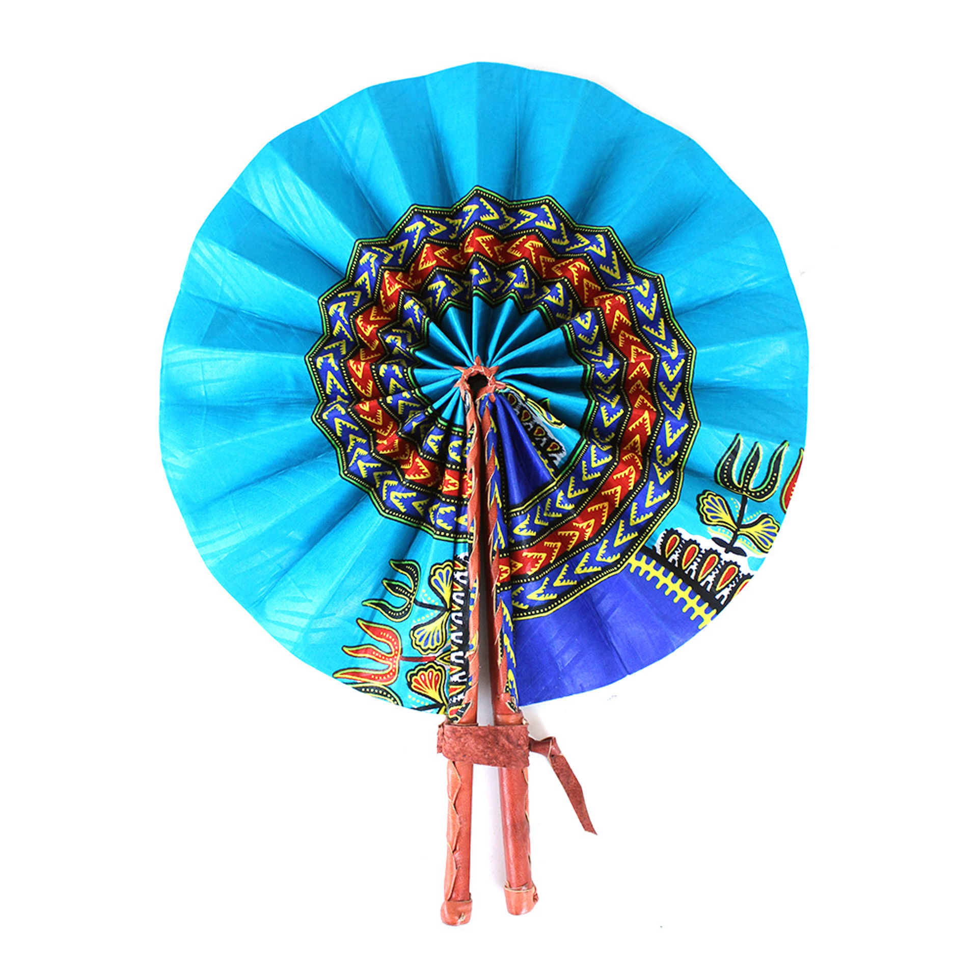 Picture of Light Blue Traditional Print Folding Fan