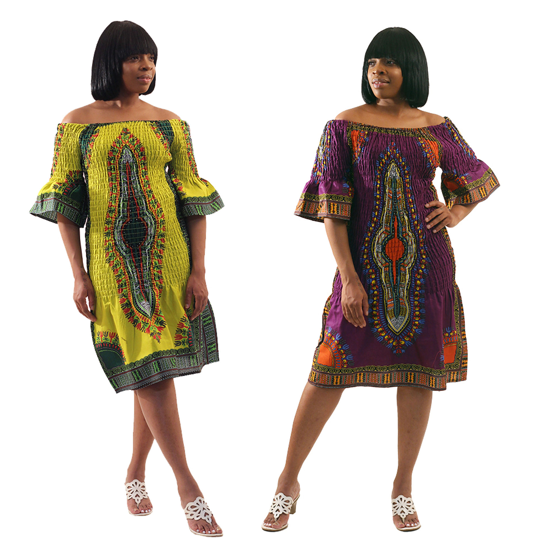 Picture of Elastic Traditional Print Dress