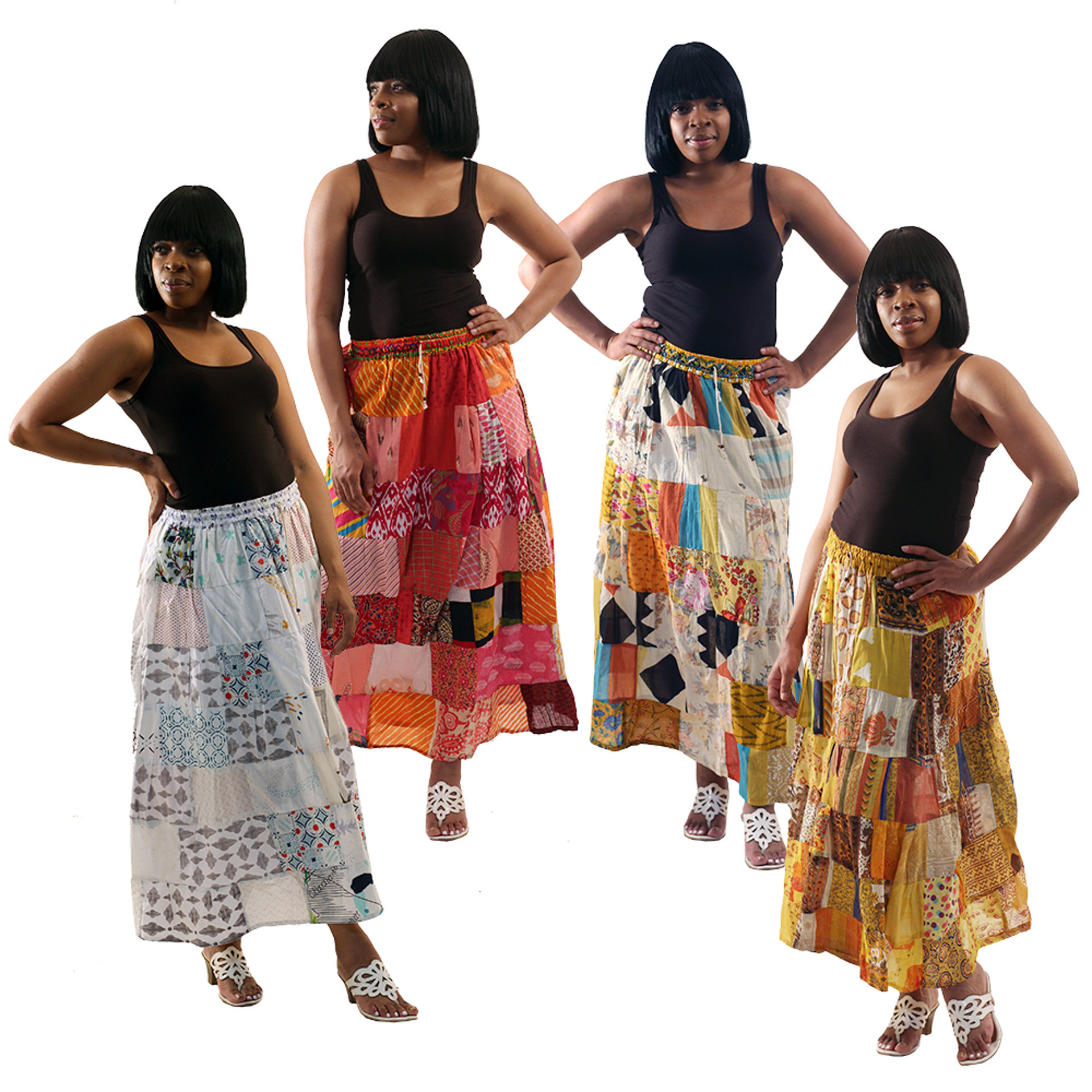 Picture of Set Of 4 Patchwork Summer Skirts ASSRTED