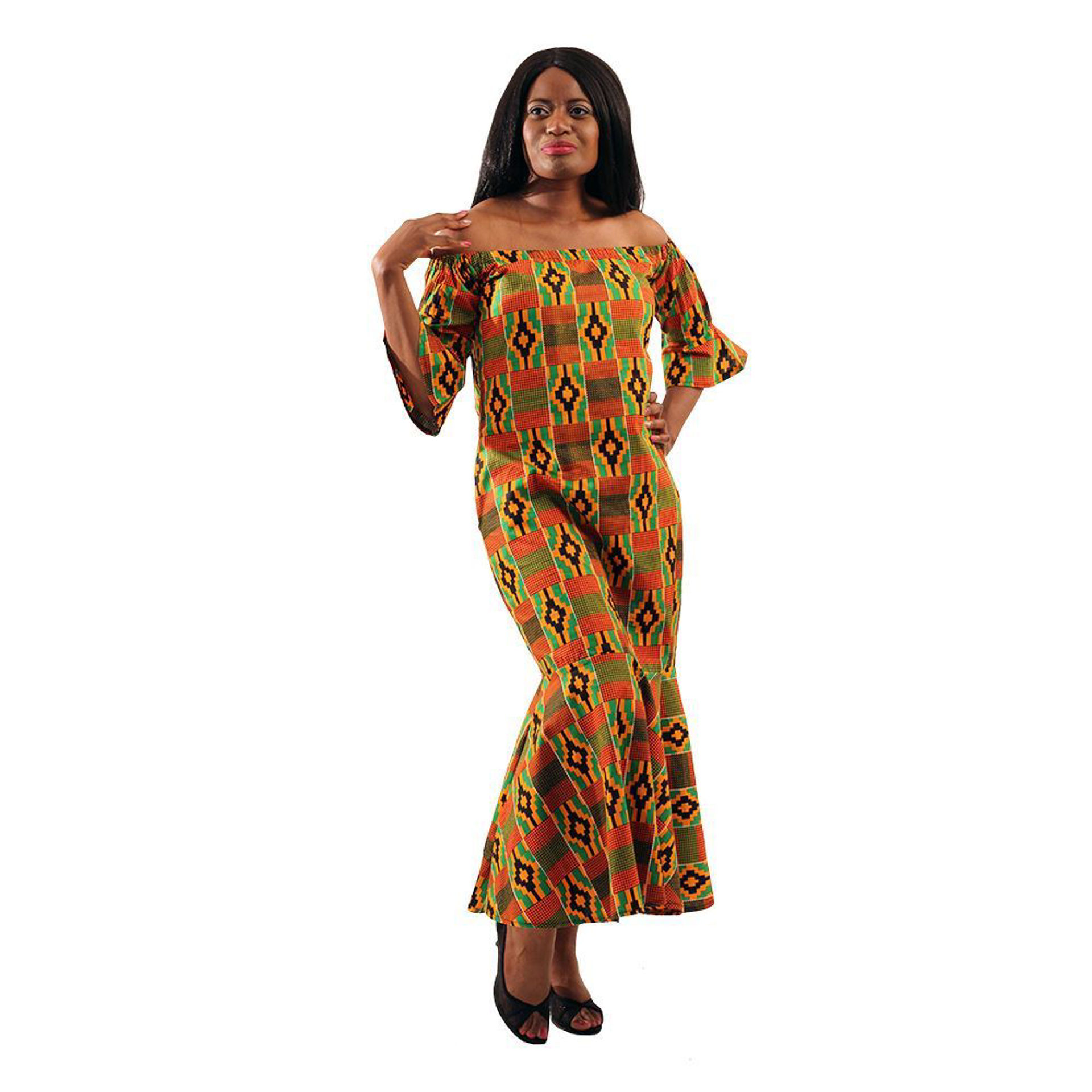 Picture of Kente #2 Off-The-Shoulder Dress