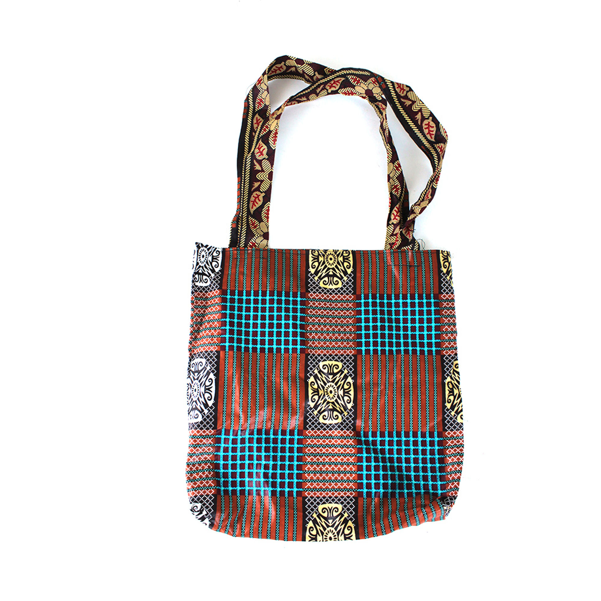Picture of African Print Handbag - Native Brown