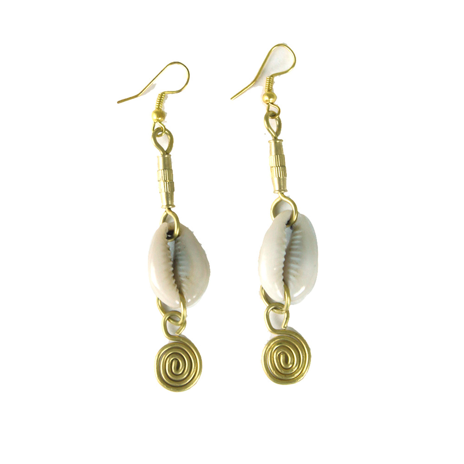Picture of Cowrie Shell & Brass Earrings