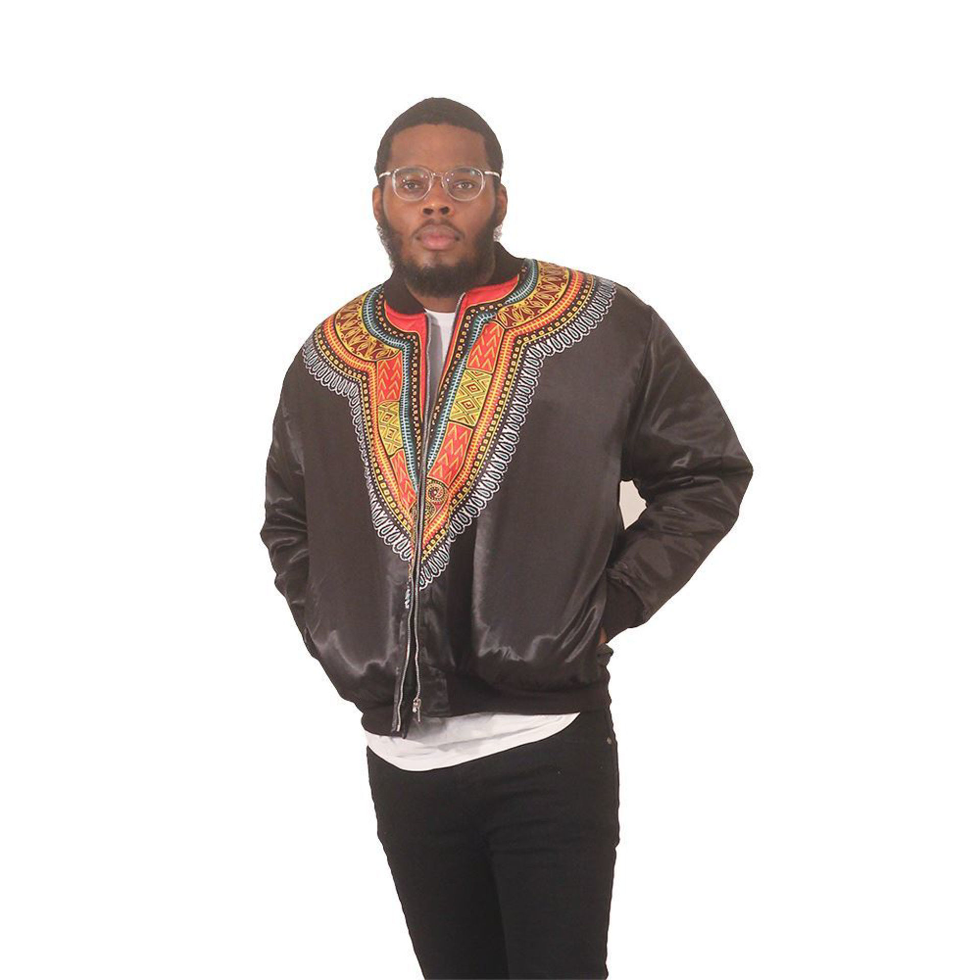 Picture of Men's Black Trad Print Bomber Jacket