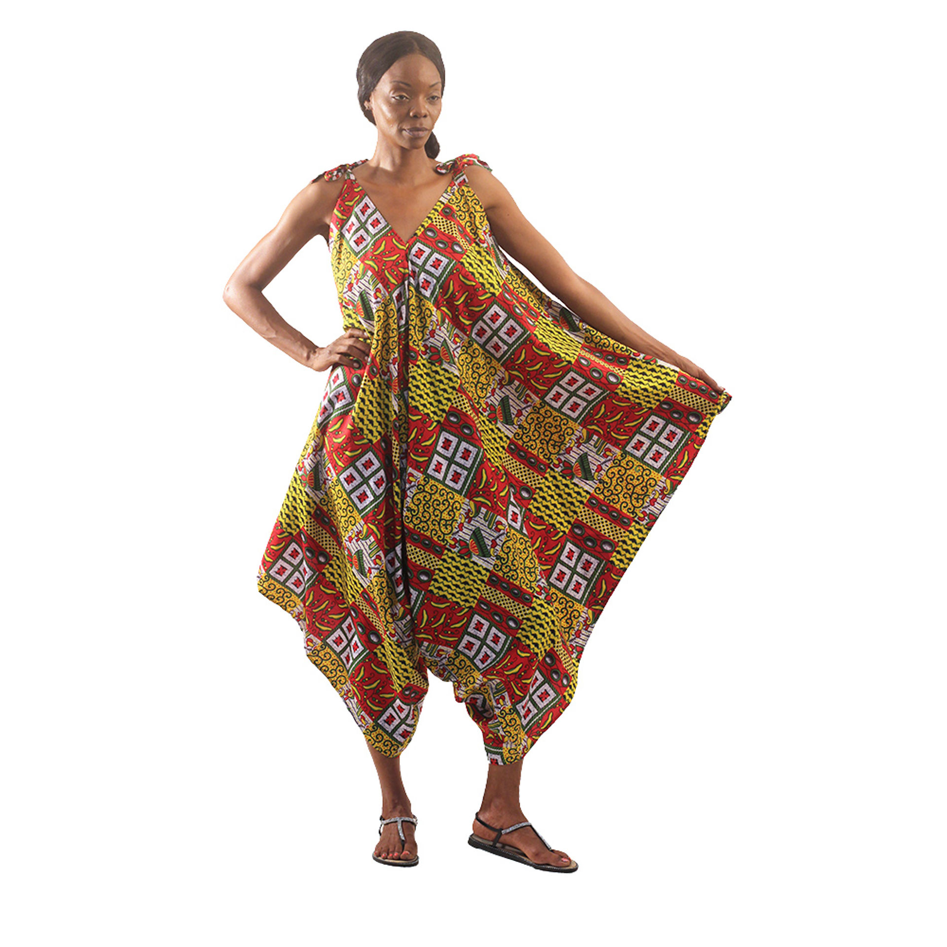 Picture of Talavera Patchwork Jumpsuit: Yellow/Red