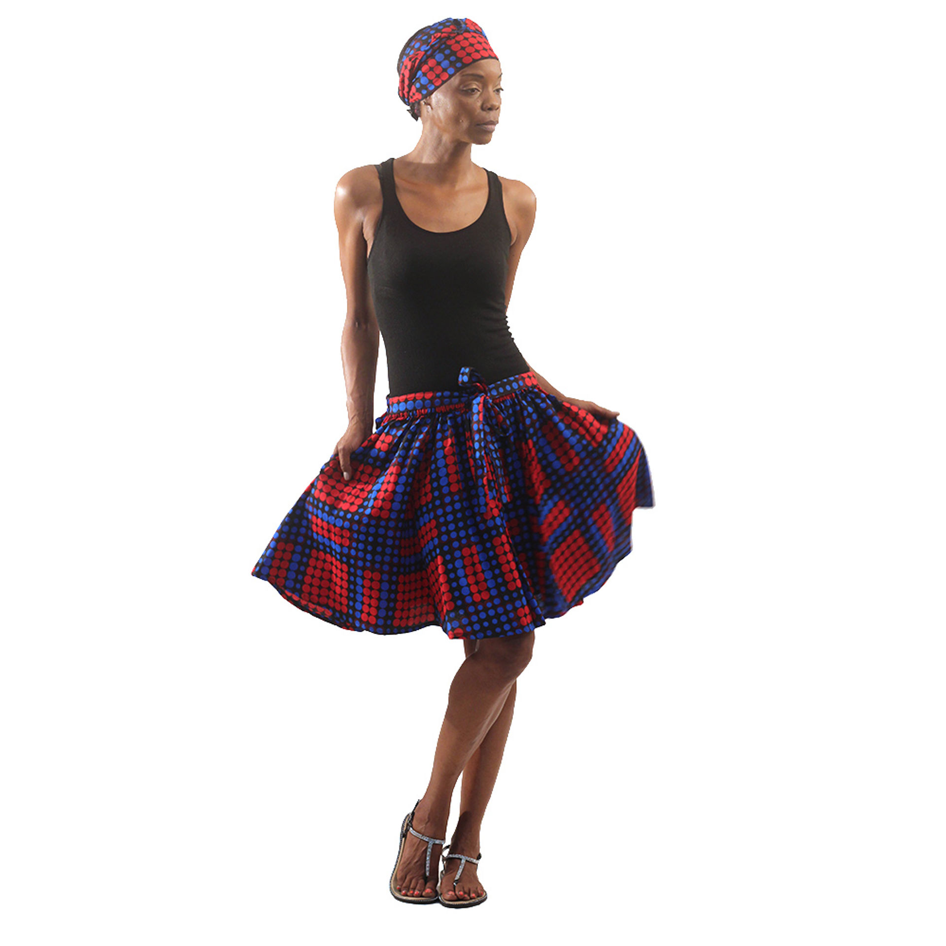 Picture of Dot Pattern Mini Skirt: Blue/Red