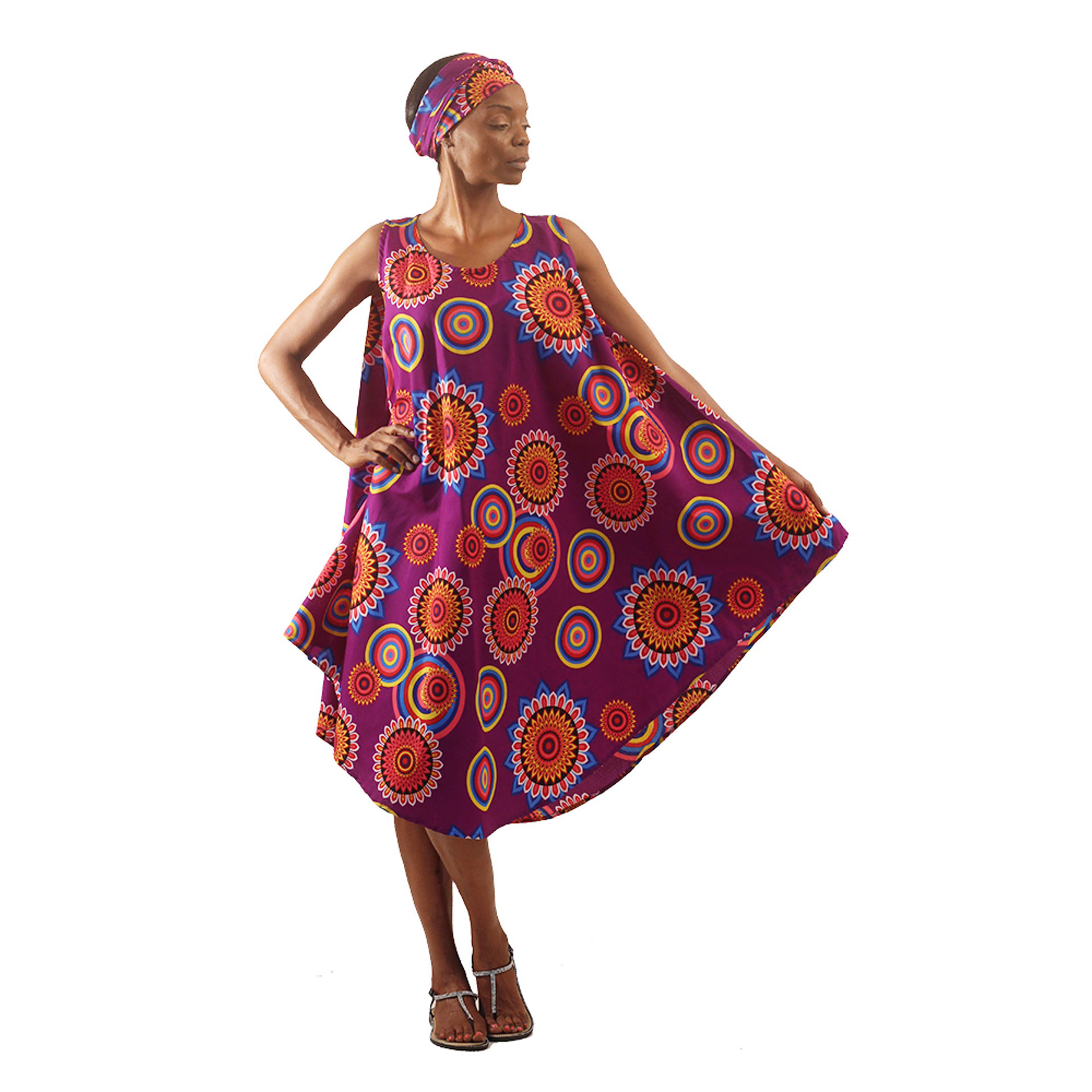 Picture of Sacred Flower Umbrella Dress: Purple