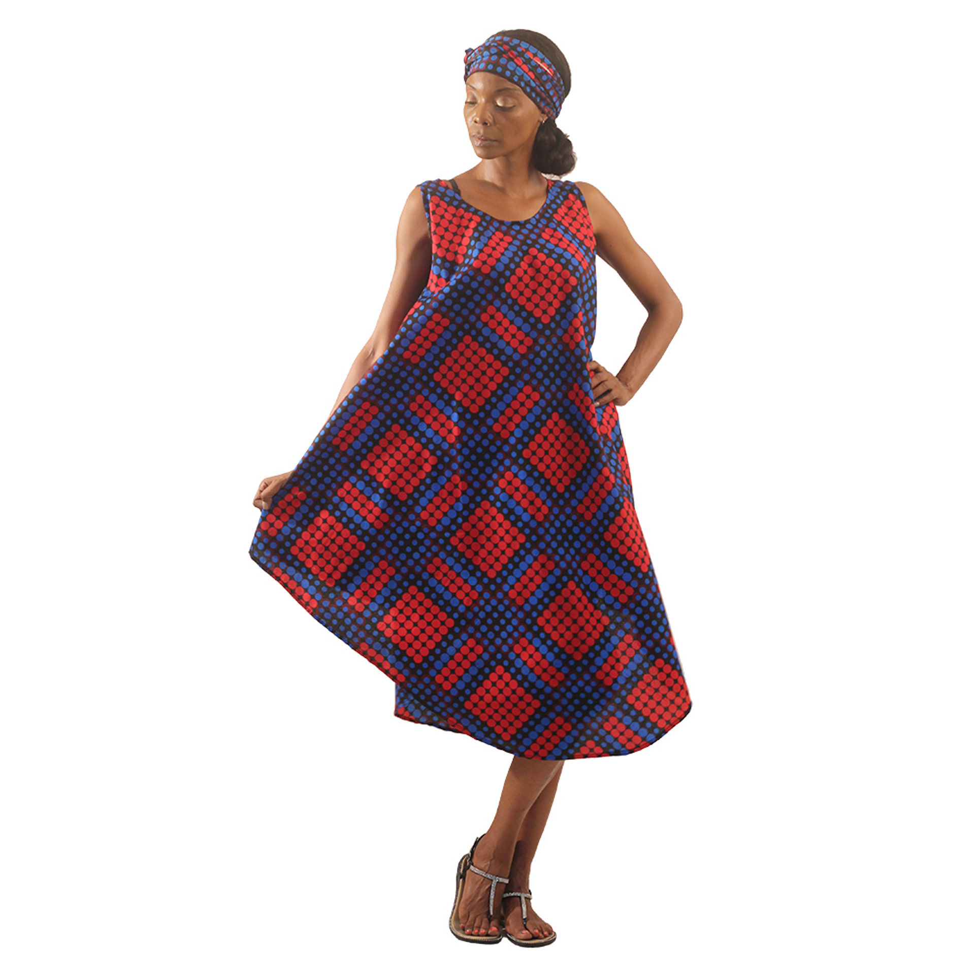 Picture of Dot Pattern Umbrella Dress: Blue/Red