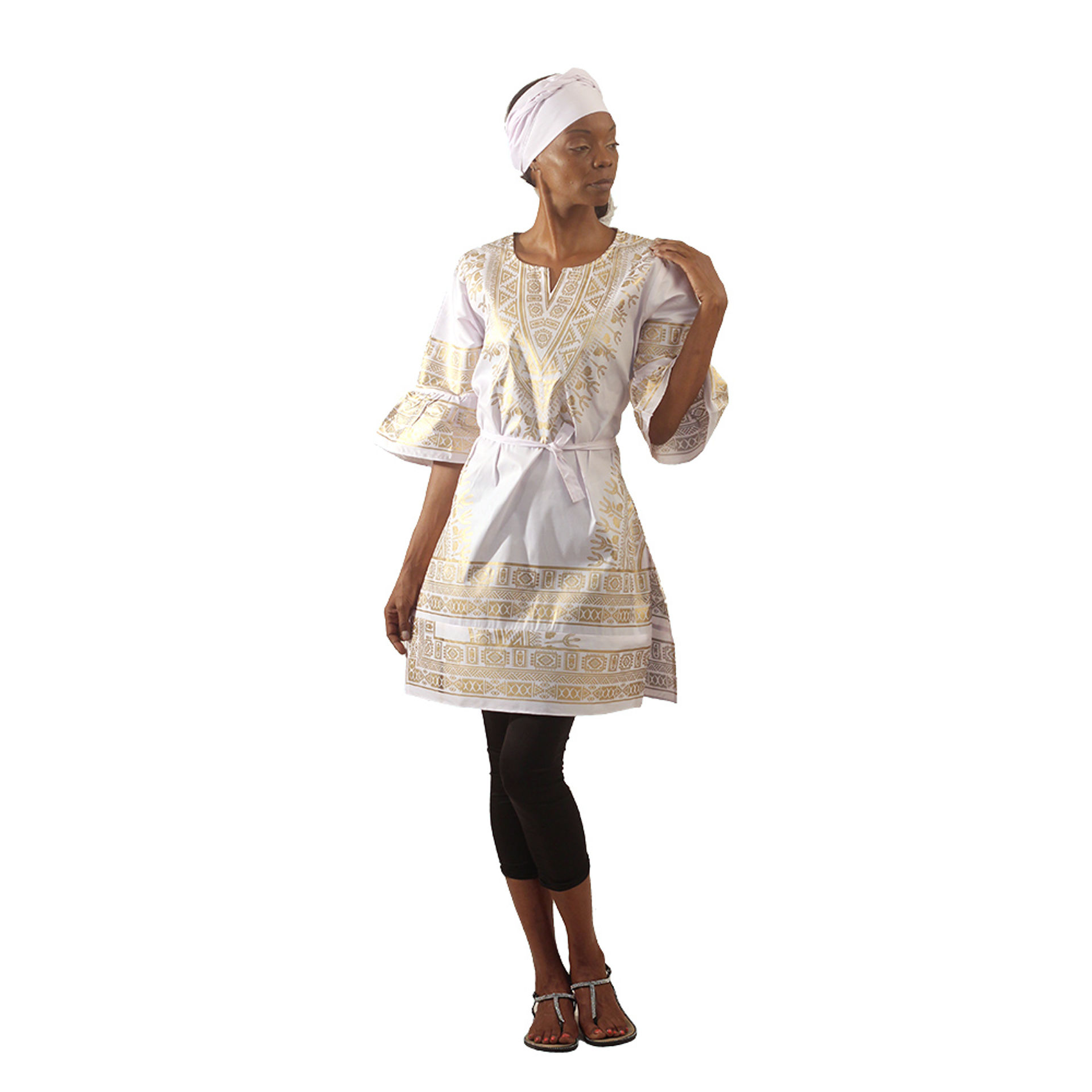 Picture of White & Gold Traditional Print Dress