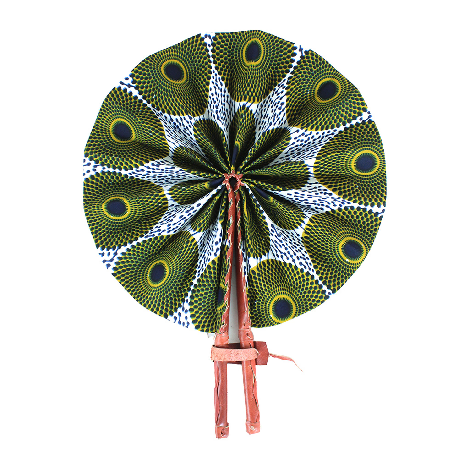 Picture of Blk/Wht/Mustard Circle Print Folding Fan