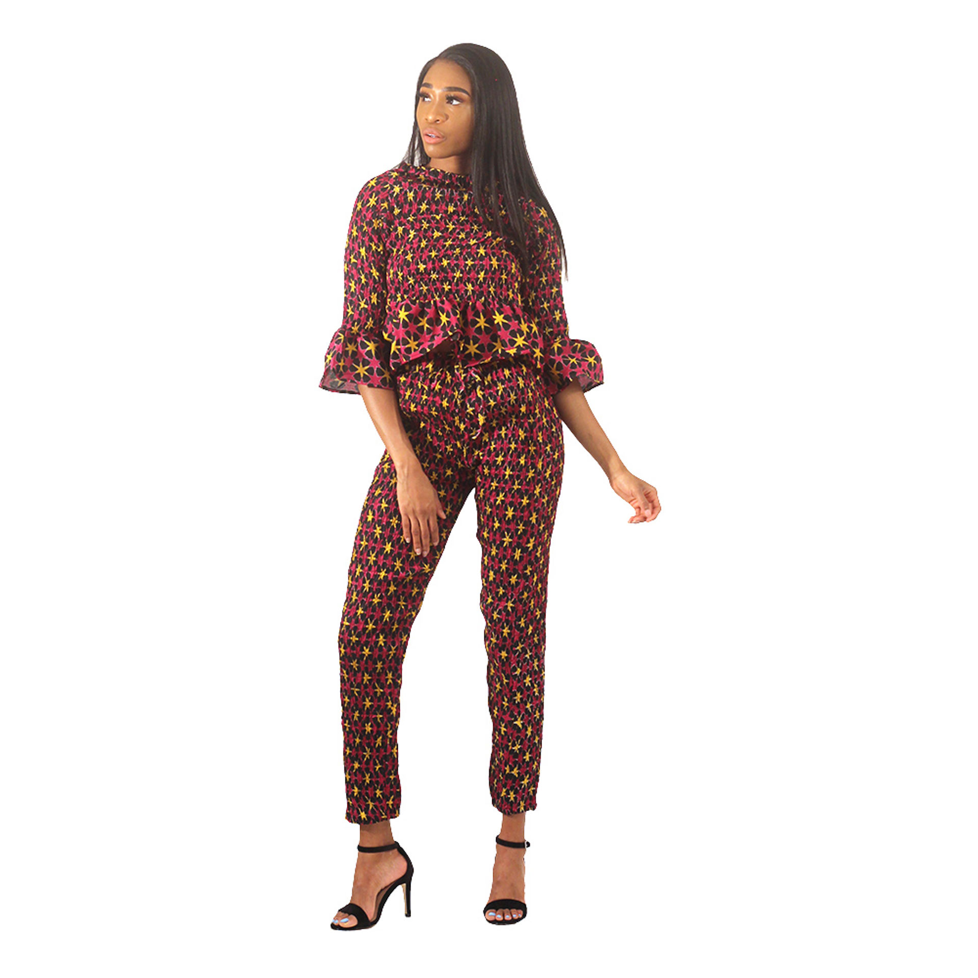 Picture of African Print Pant Set: Burgundy/Black