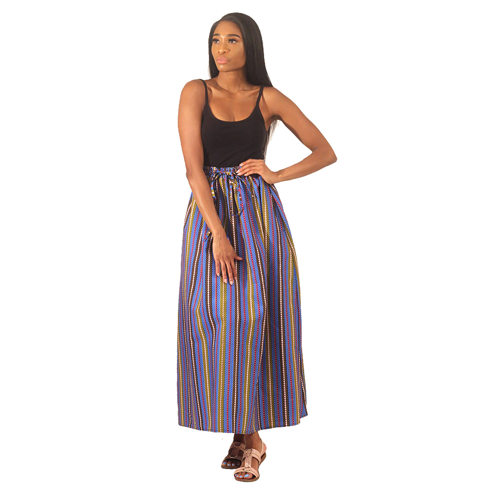 Picture of Blue Stripe Pattern Long Skirt