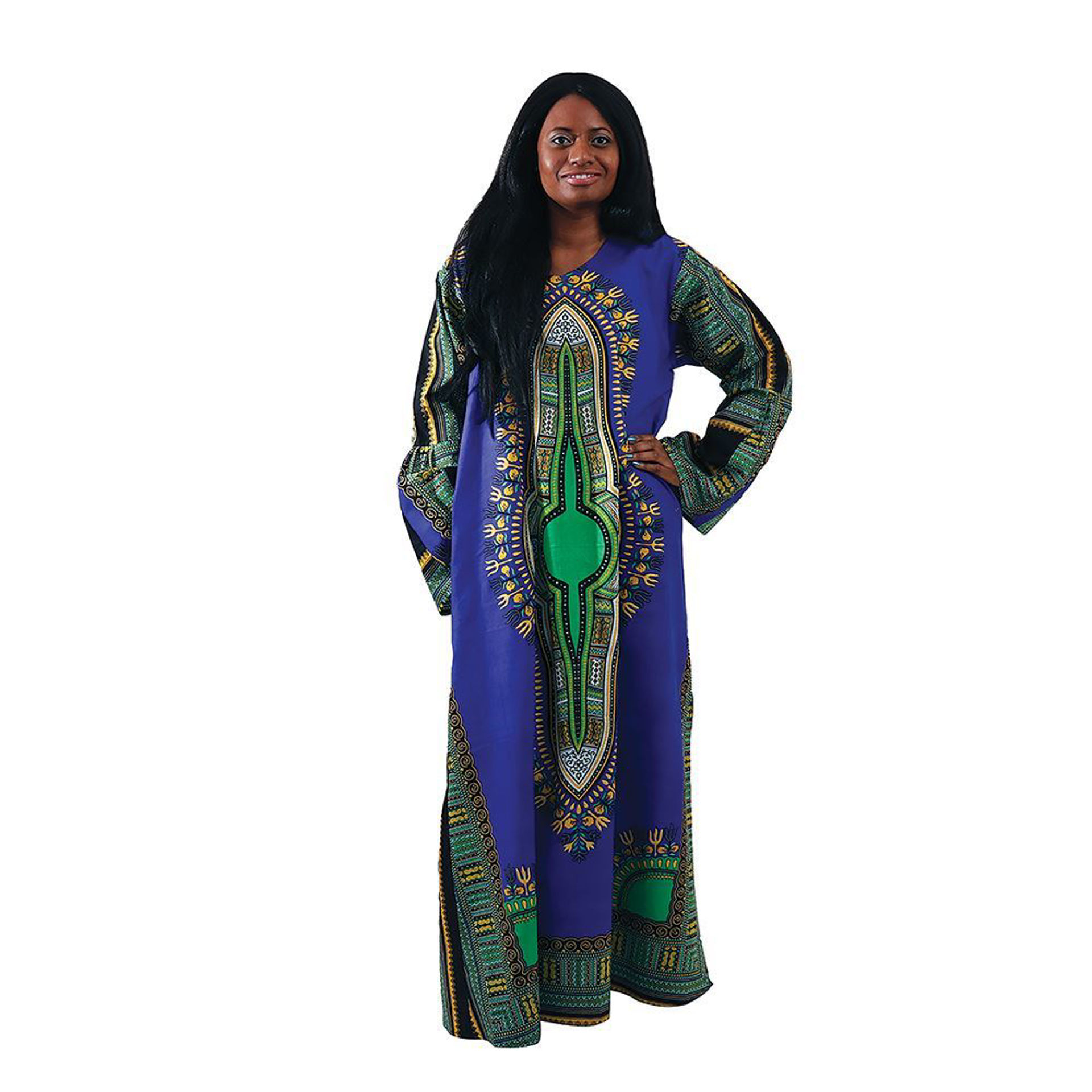 Picture of Blue Traditional Print Long Dress