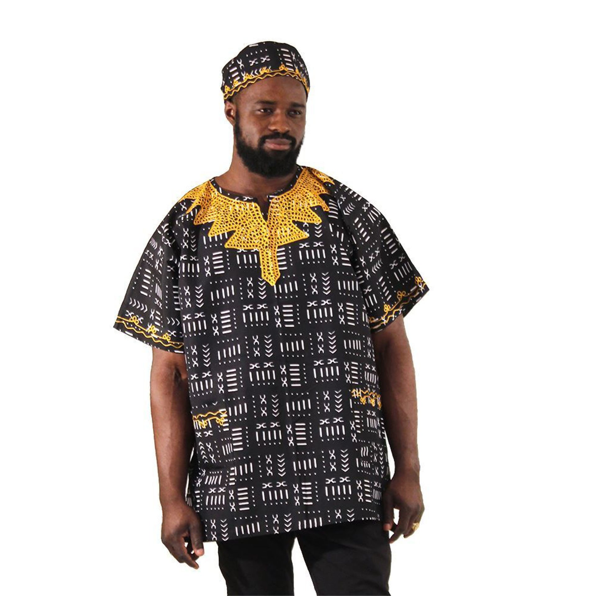 Picture of Black Mud Print Embroidered Dashiki
