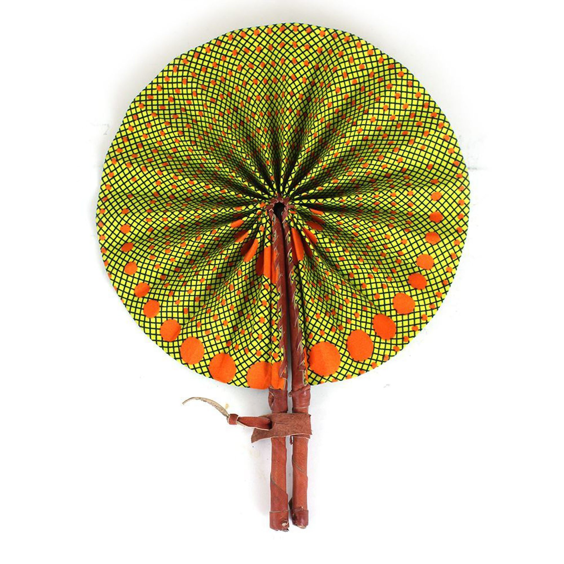 Picture of Yellow African Print Folding Fan