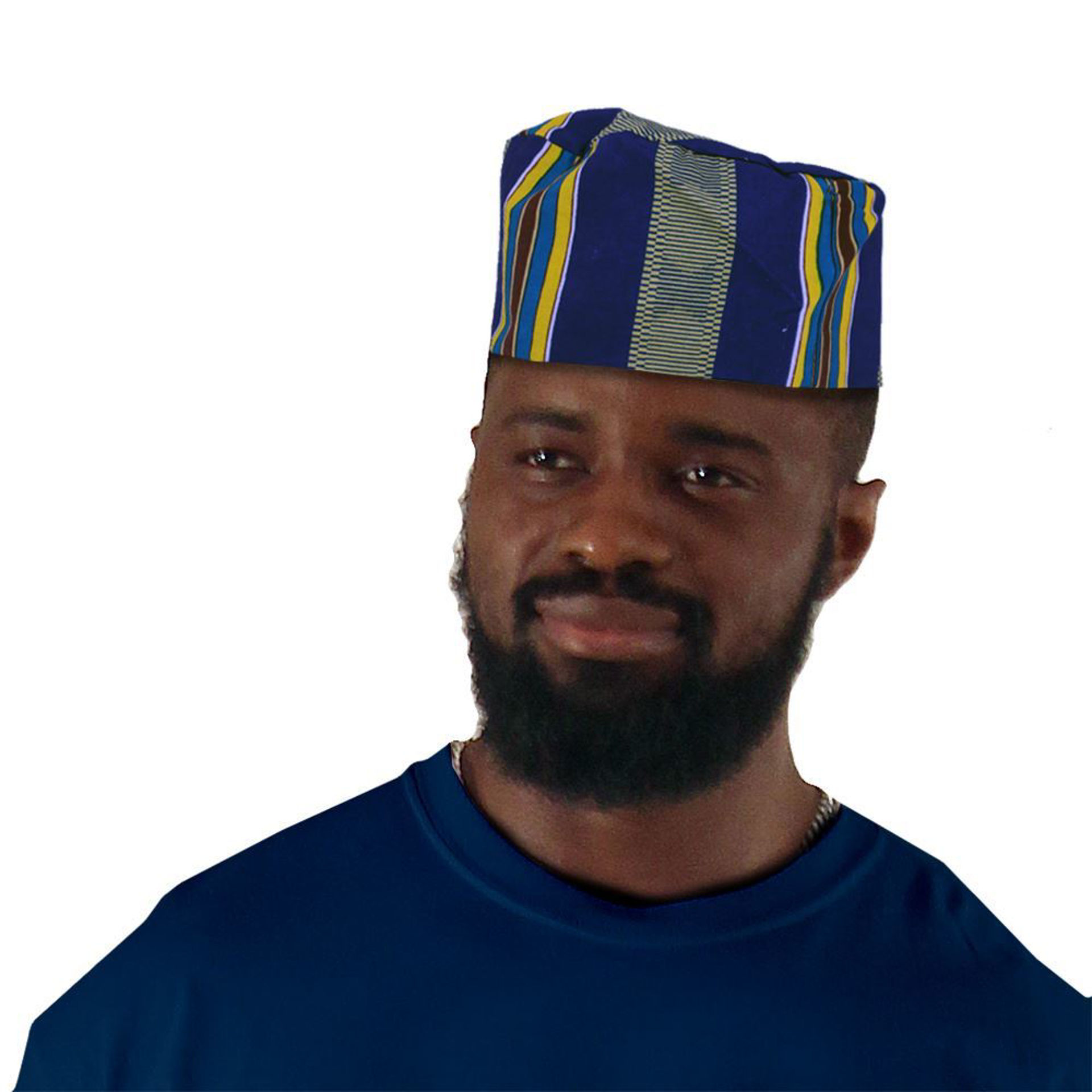 Picture of Kente Kufi Hat Style #4 BLUE