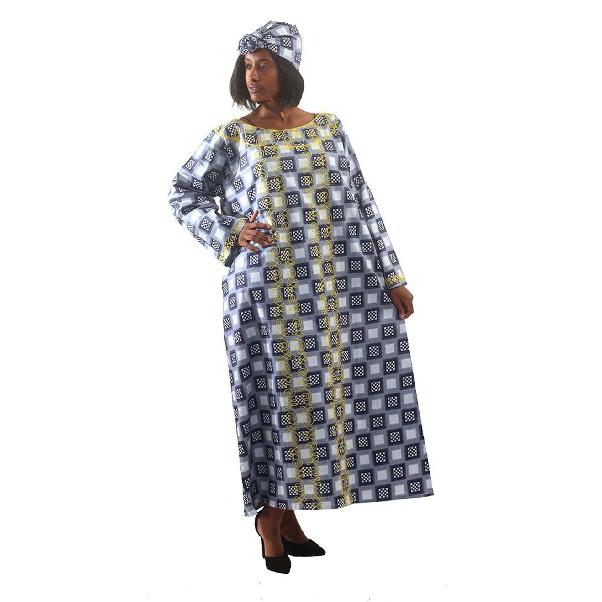 Picture of Embroidered Checkered Print Kaftan