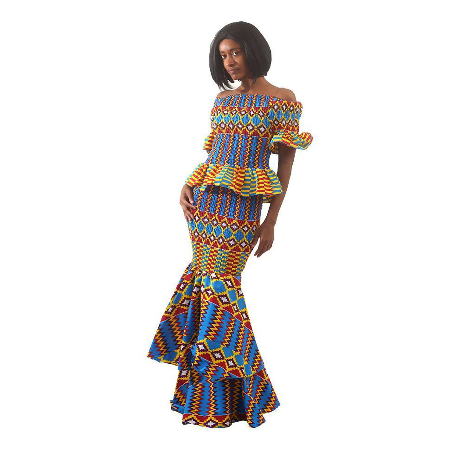 Picture of Blue Kente 2-Piece Elastic Skirt Set