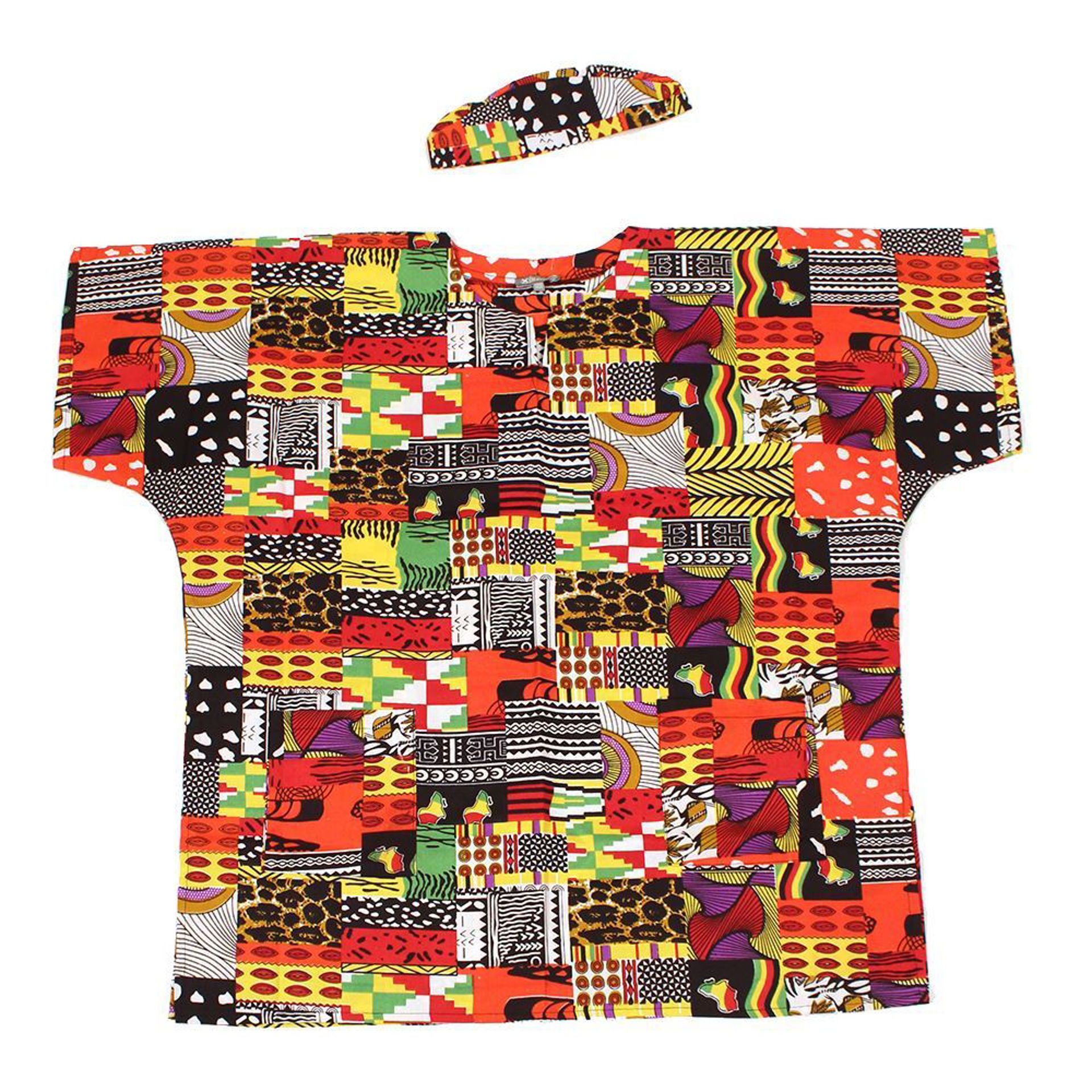 Picture of Afrocentric Patchwork Dashiki & Cap