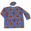 Picture of Long-Sleeve African Print Dashiki: Blue