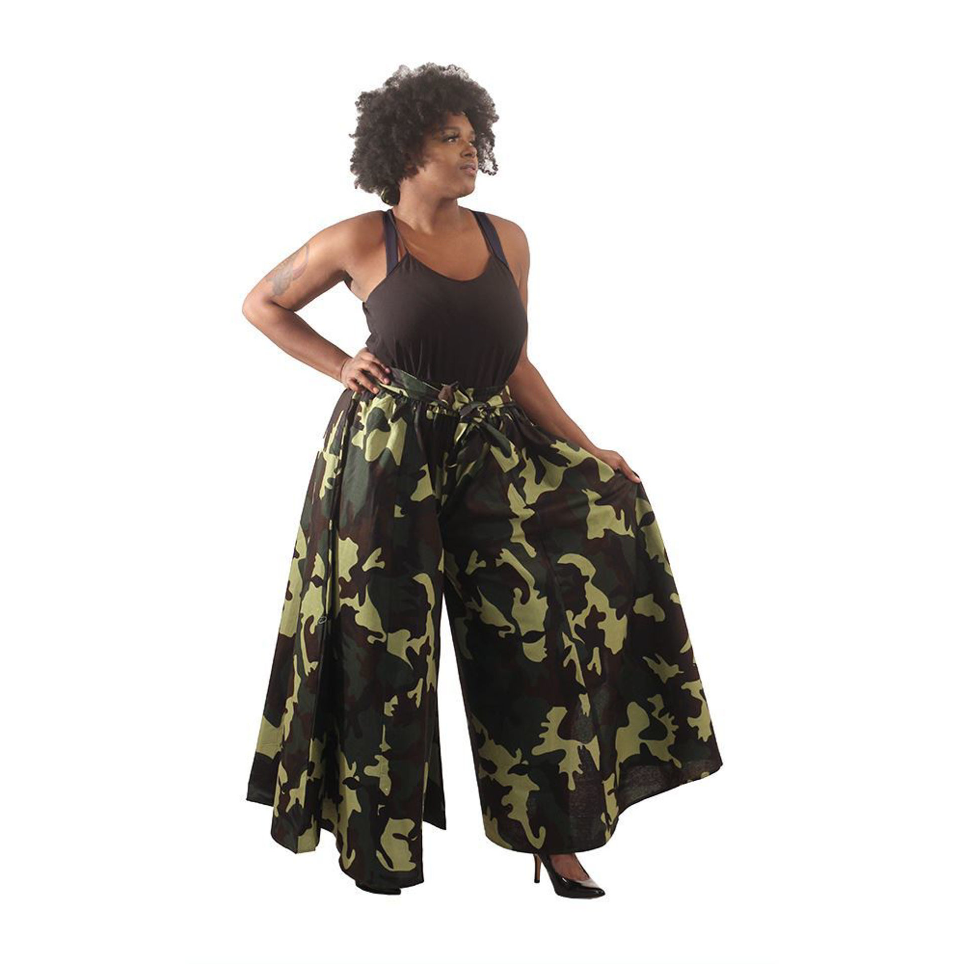 Picture of Green Camo Palazzo Pants