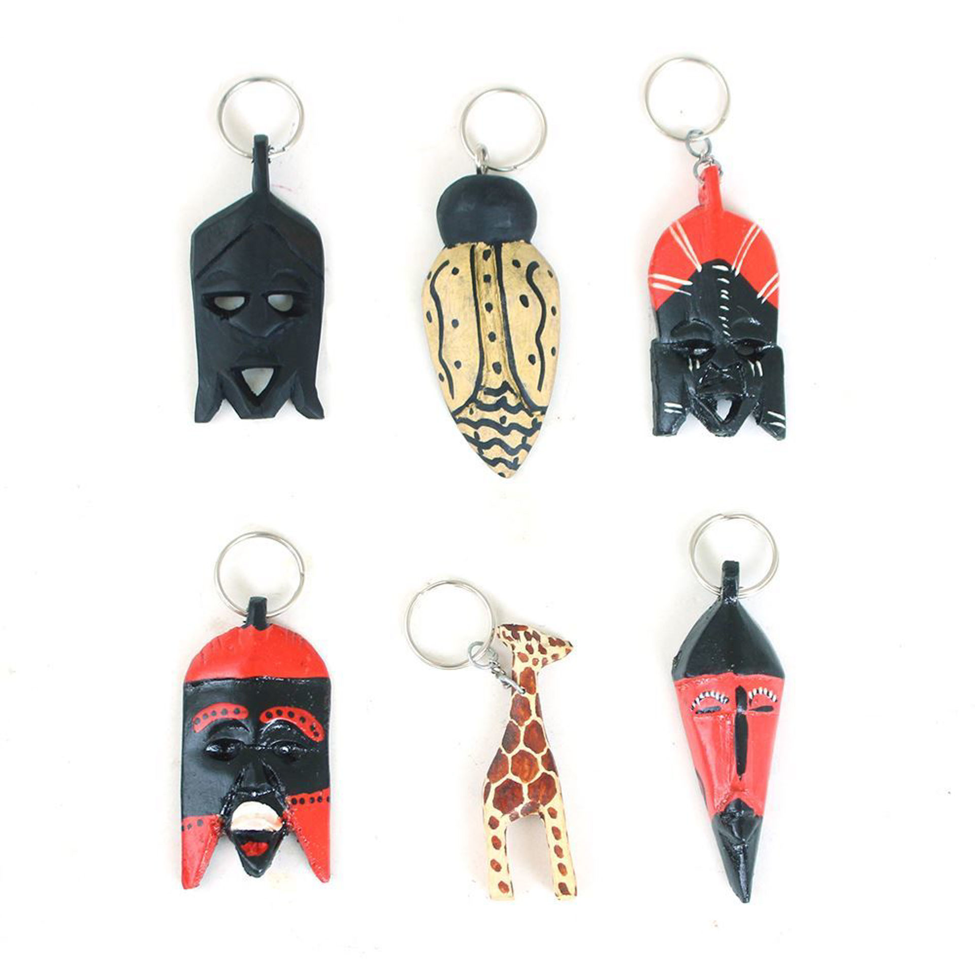 Picture of Set Of 6 Wooden Key Chains