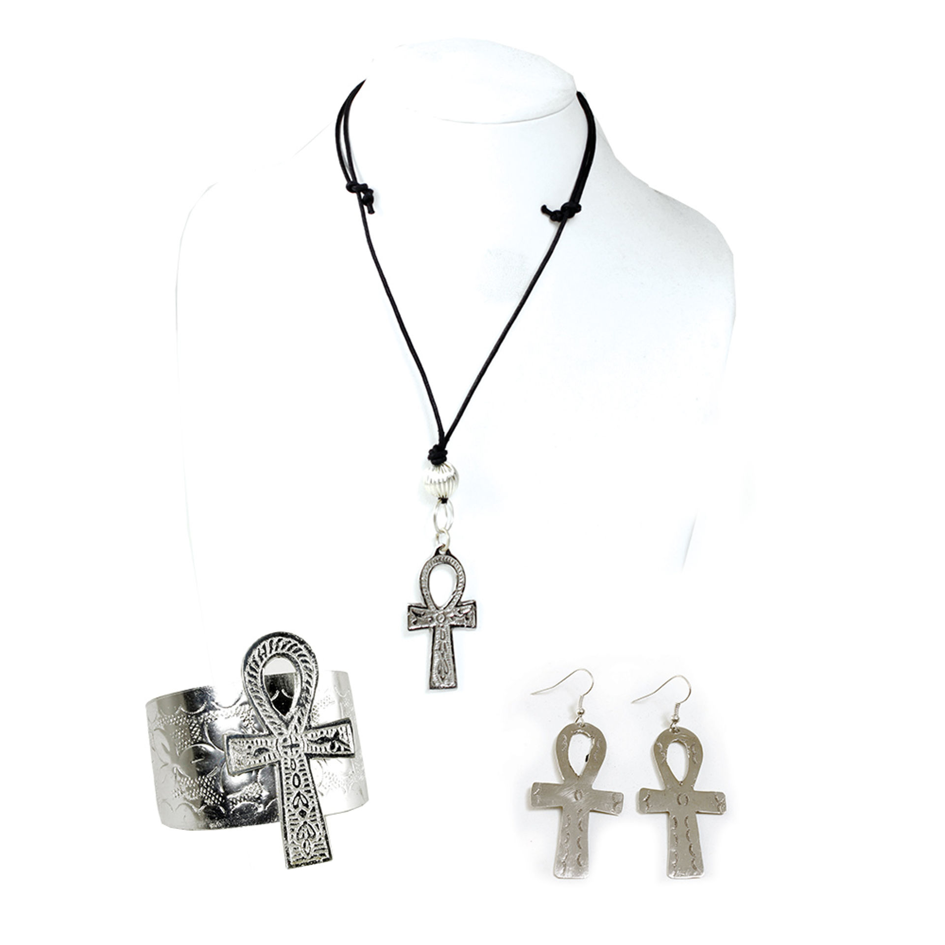 Picture of Silver Ankh Jewelry Set
