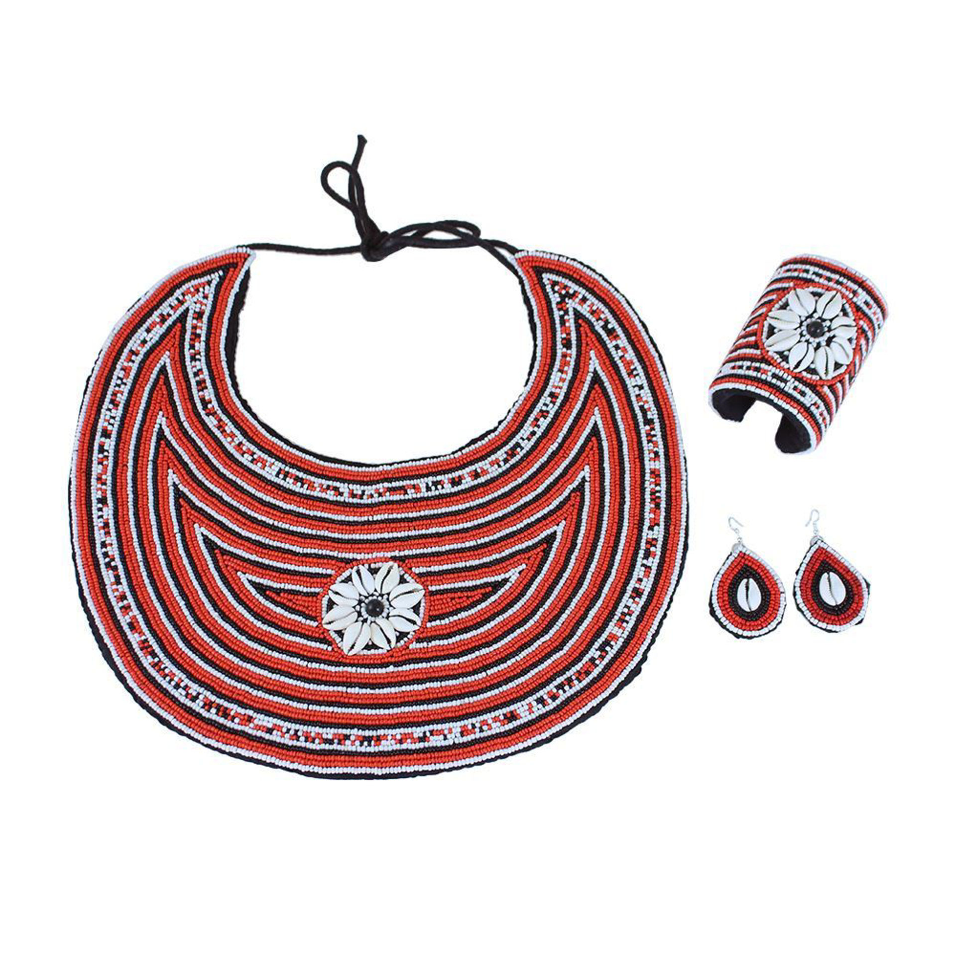 Picture of Red Beaded Cowrie Shell Jewelry Set