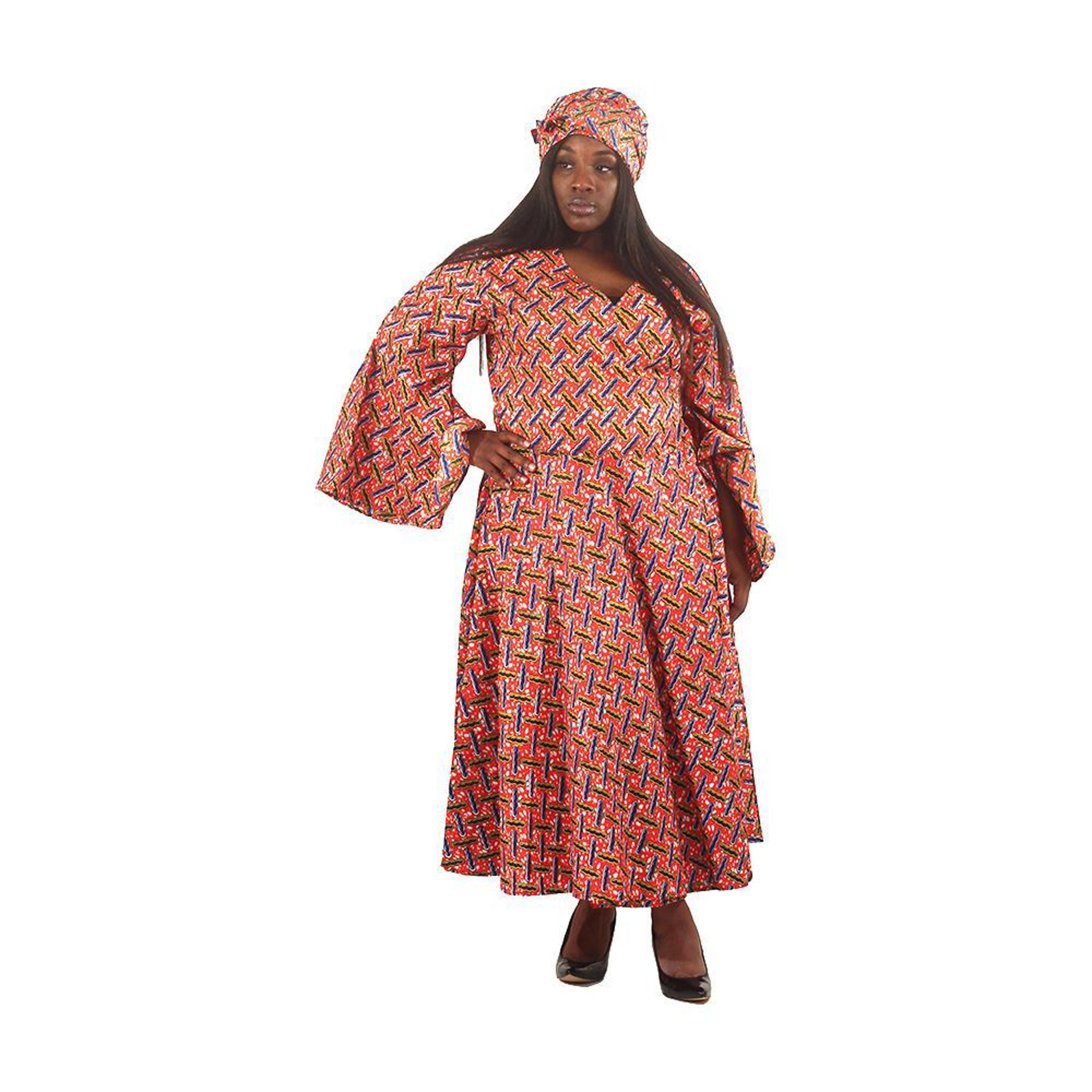 Picture of African Print Wrap Dress: Red
