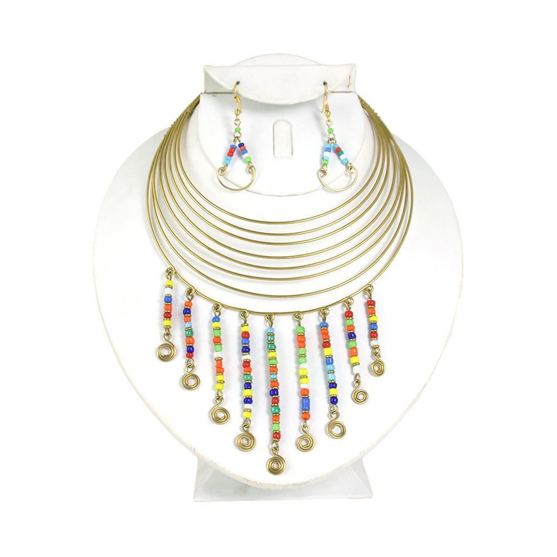 Picture of Gold Hanging Bead Choker & Earrings