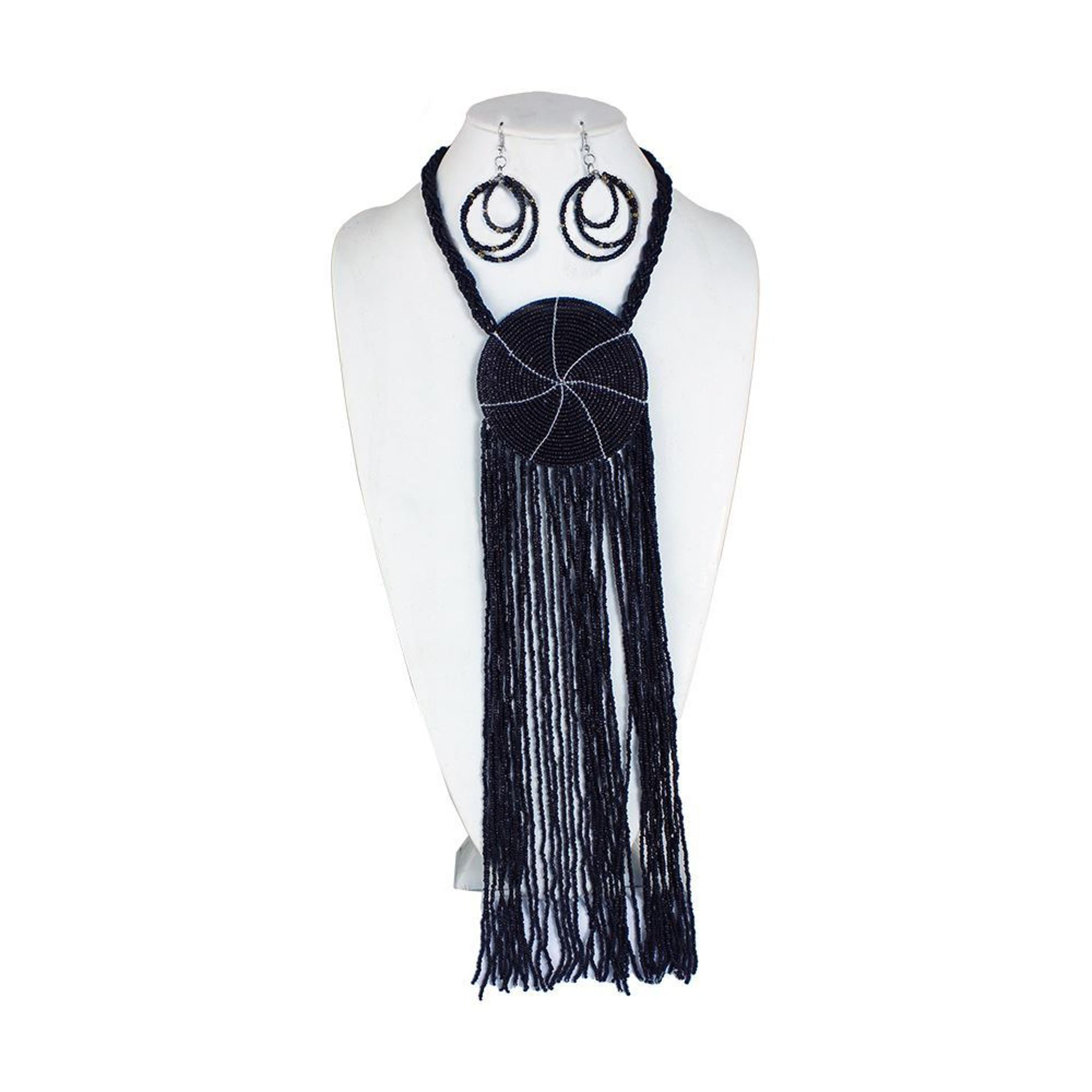 Picture of Black Maasai Beaded Fringe Necklace Set