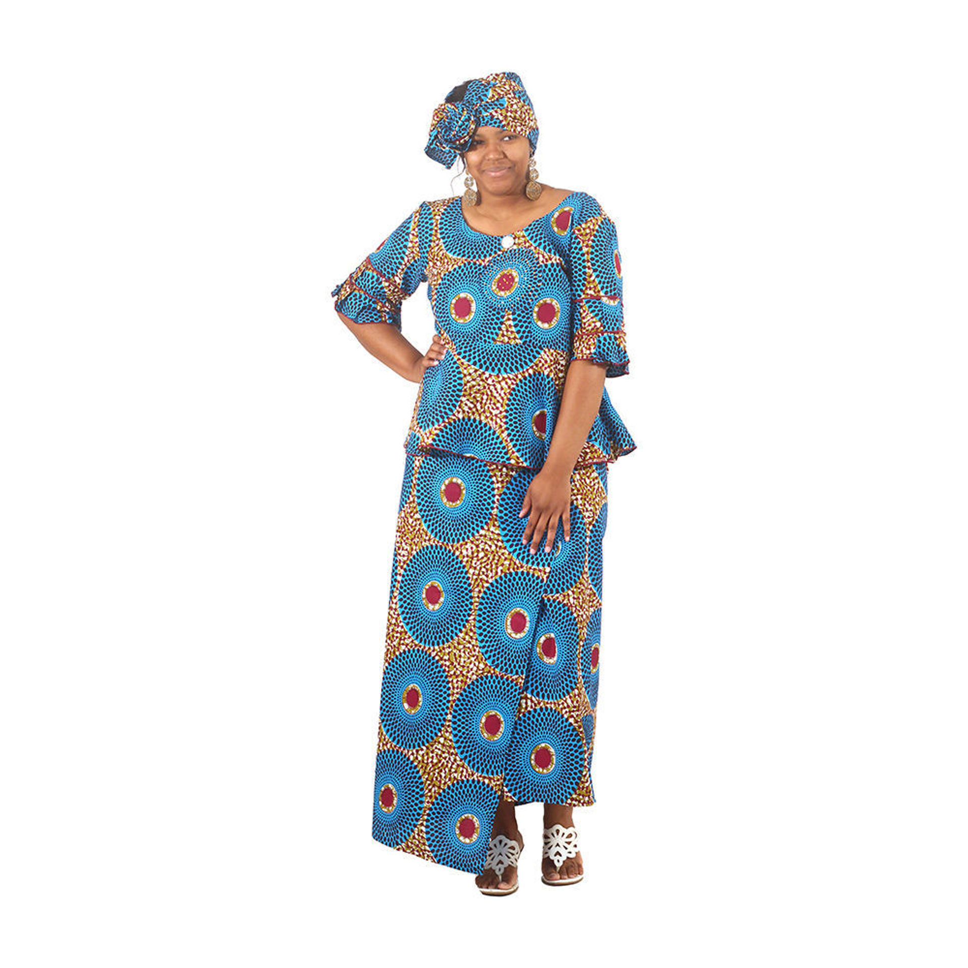Picture of Blue Circle Print Wrap Skirt Set