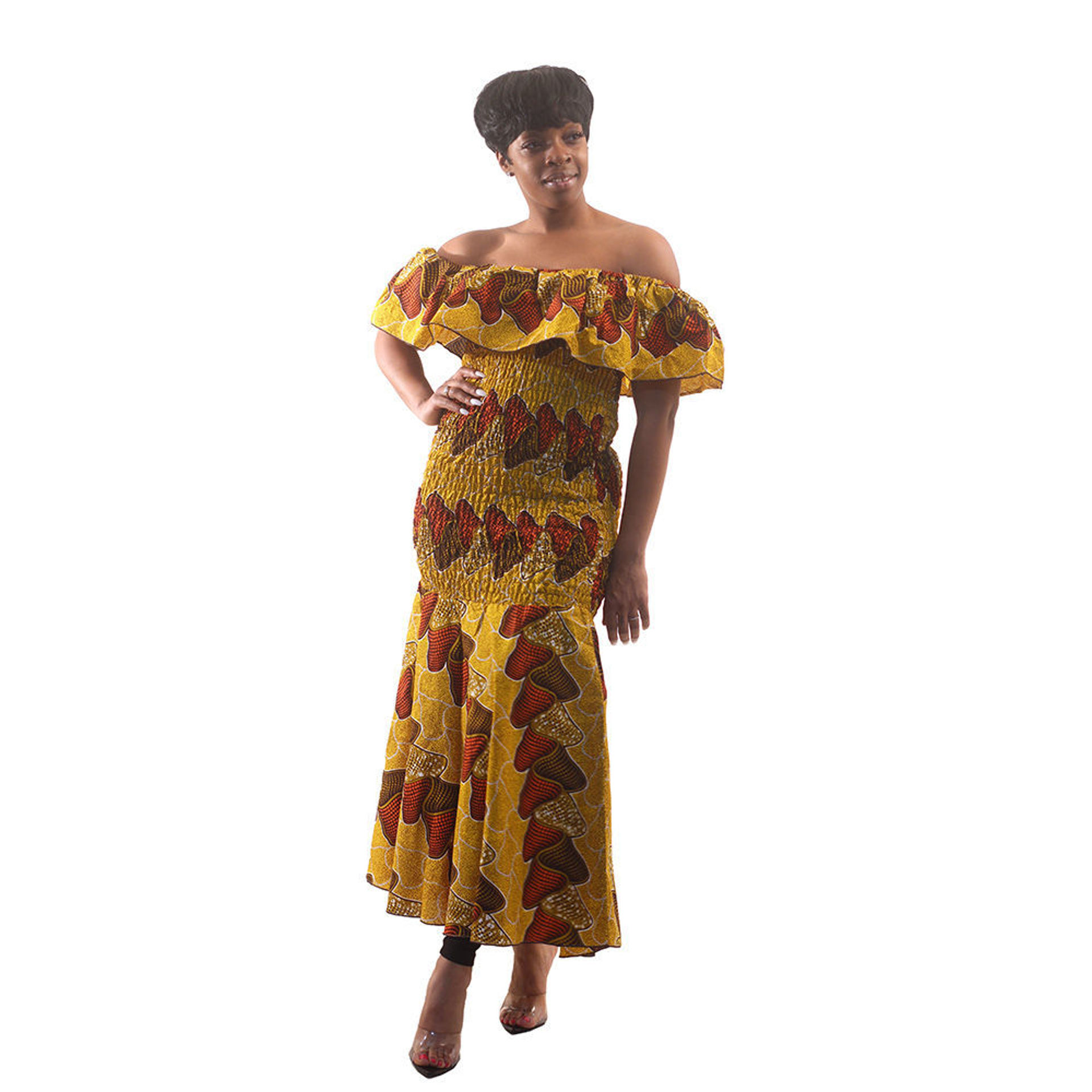 Picture of African-Made Mustard Print Elastic Dress