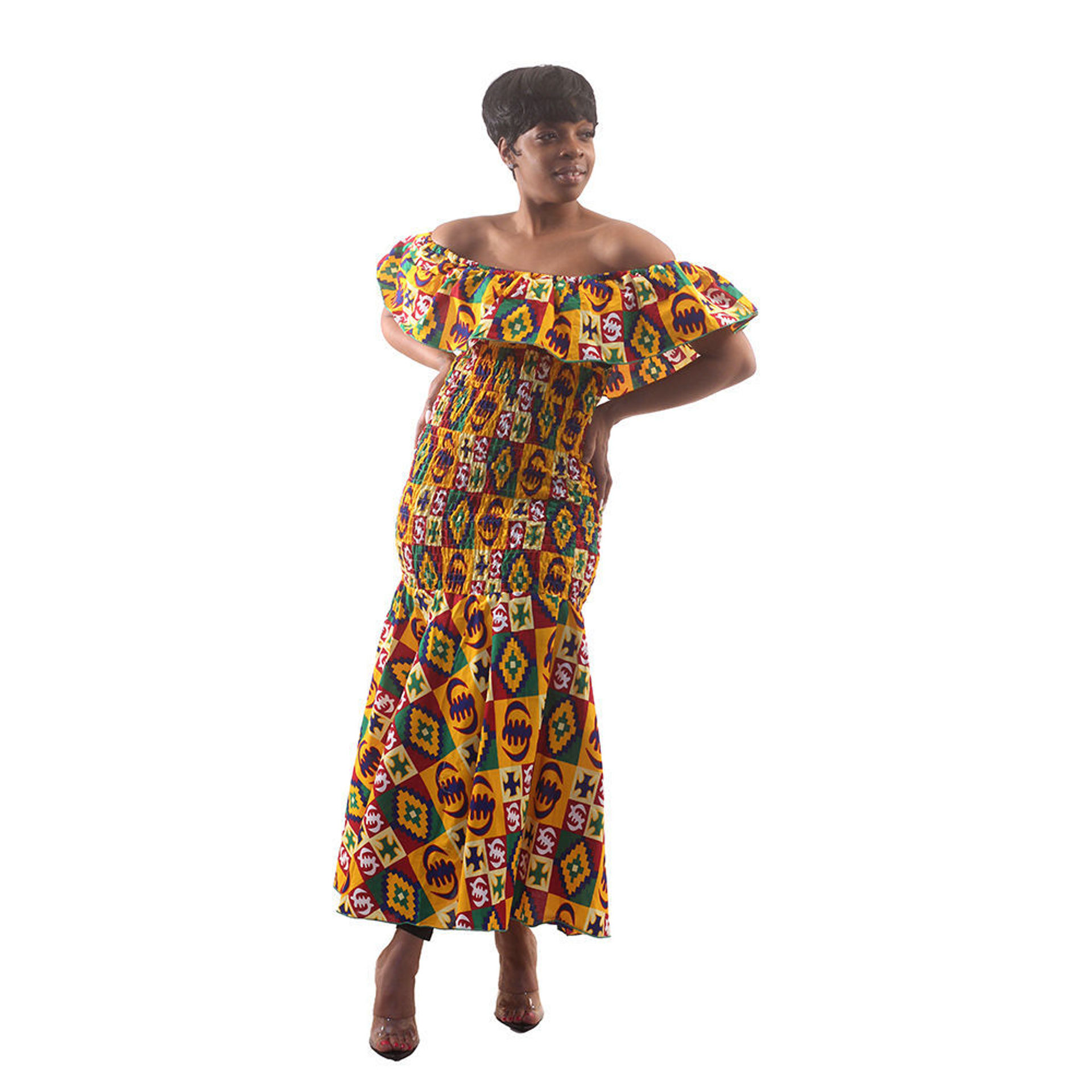Picture of African-Made Gye Nyame Elastic Dress
