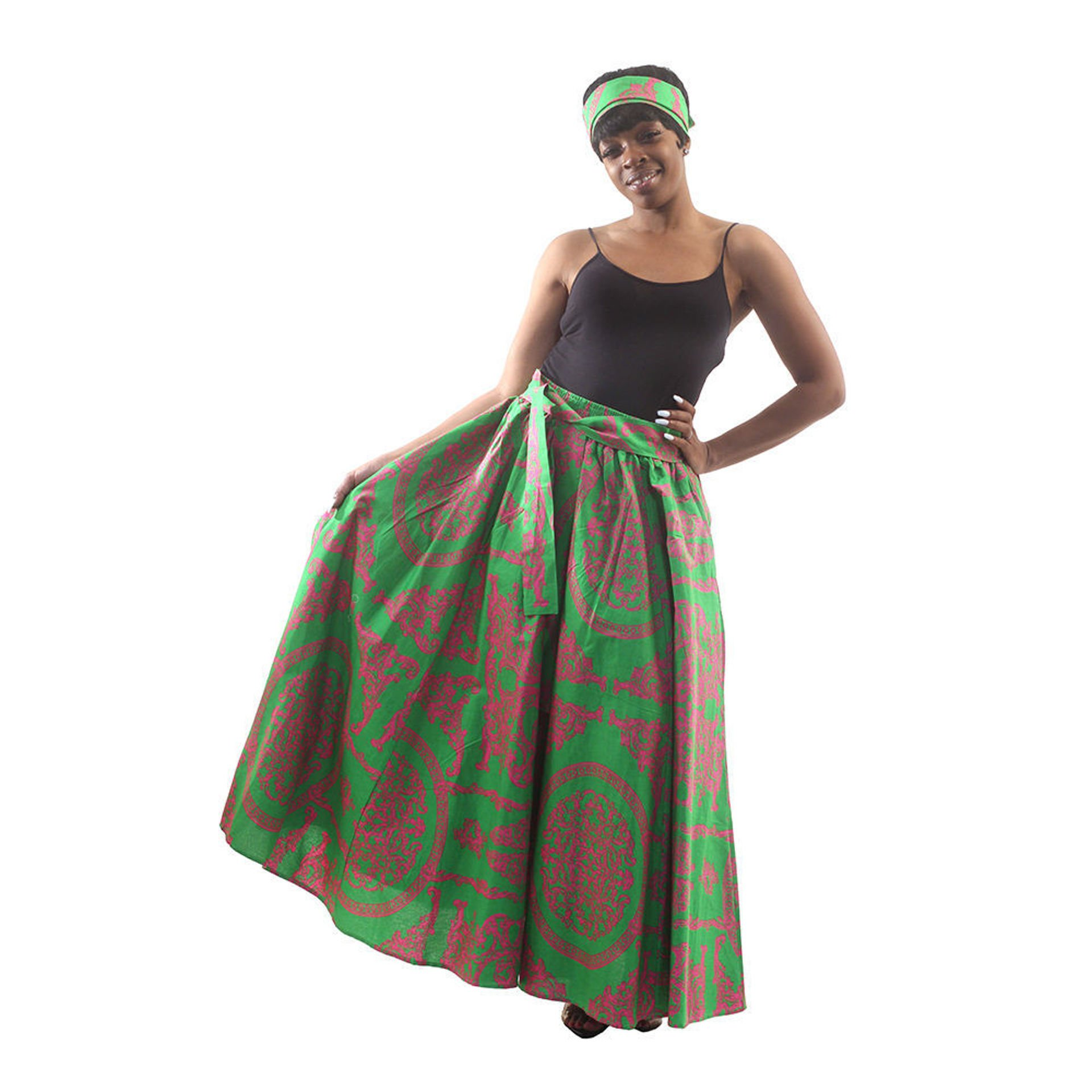 Picture of Royalty Print Maxi Skirt: Green/Pink