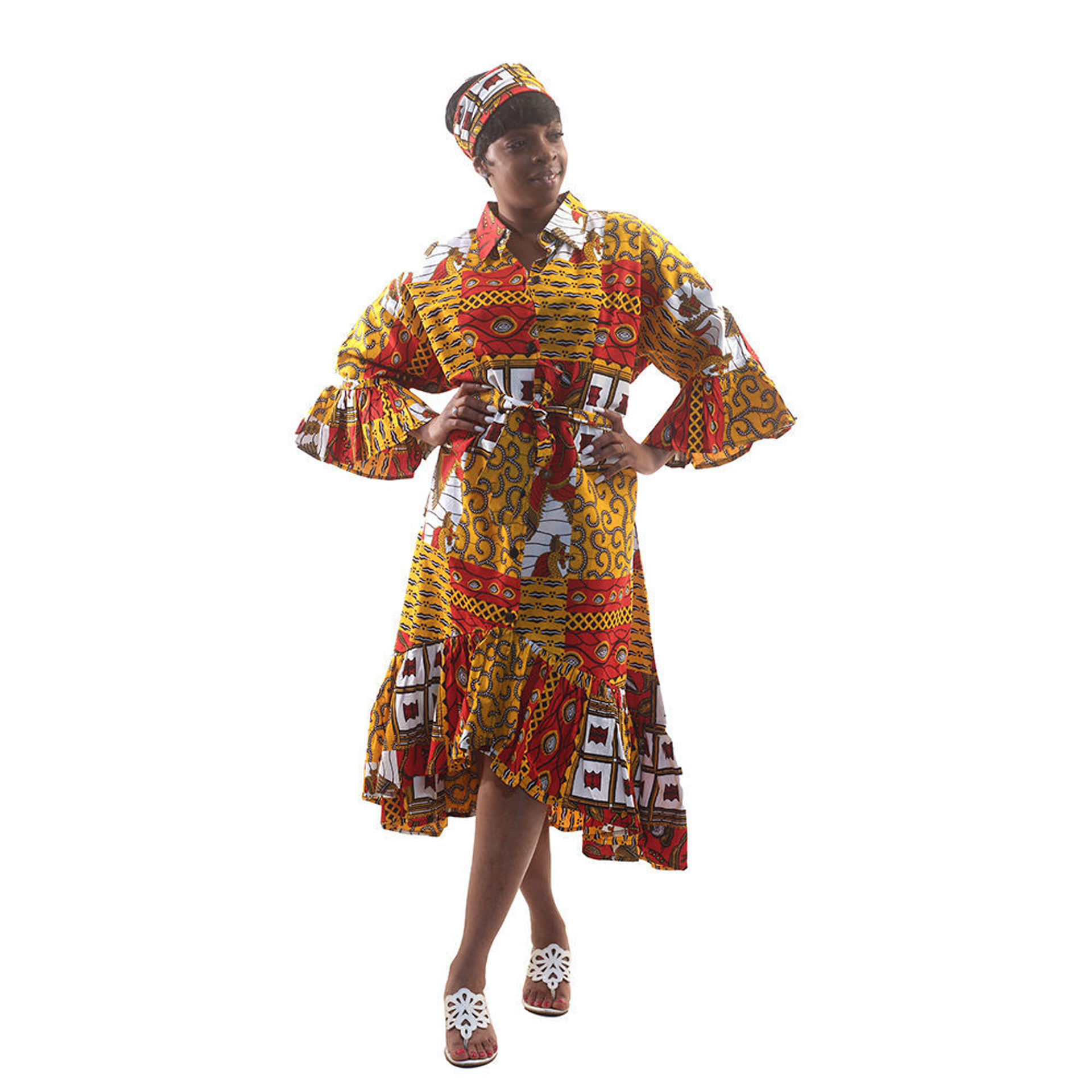 Picture of Red Royalty Print Hi-Lo Smock