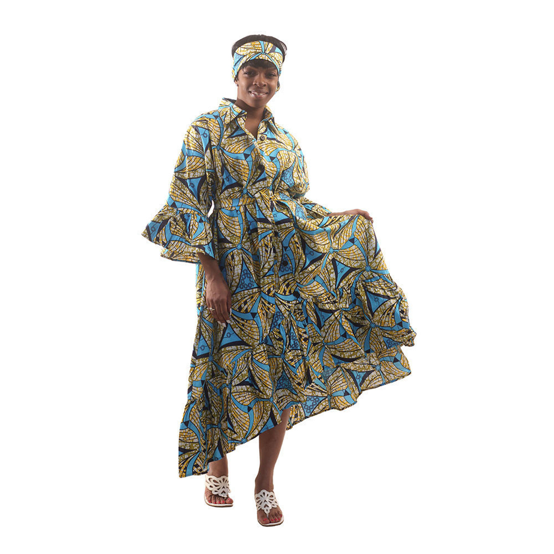 Picture of Blue/Yellow African Print Hi-Lo Smock