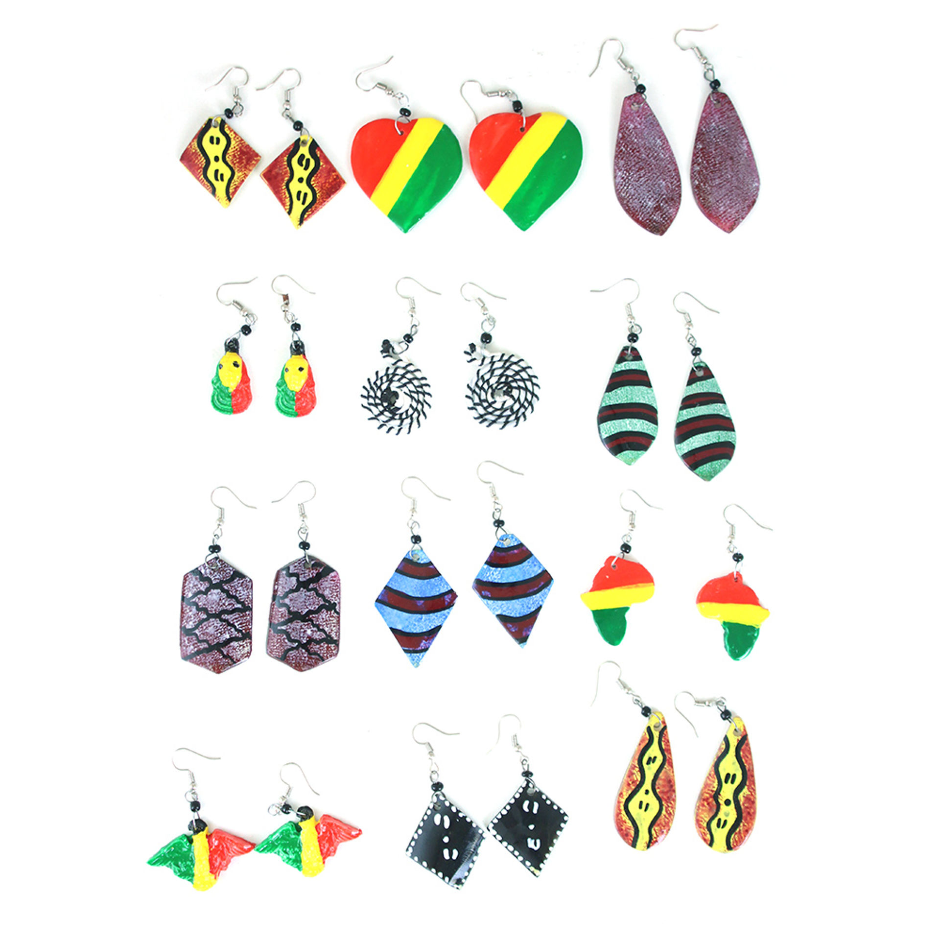 Picture of Set Of 12 Afrocentric Bone Earrings