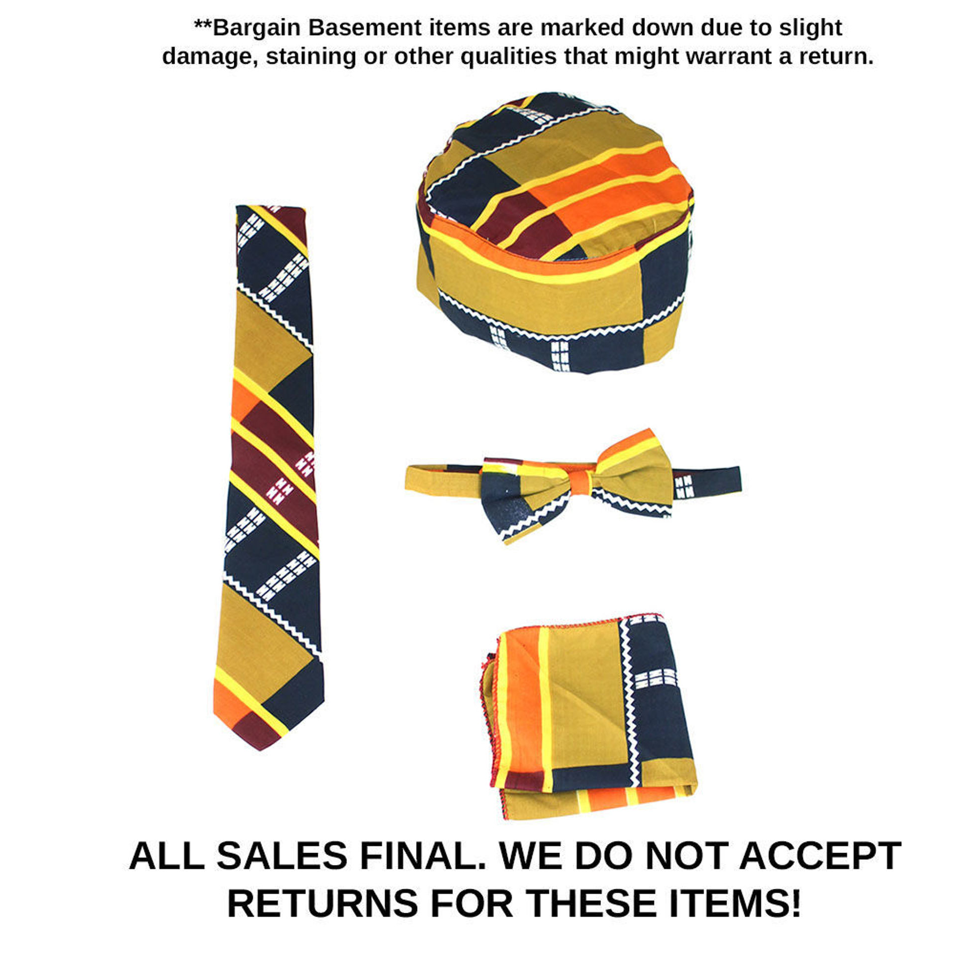 Picture of DAMAGED Mustard Kente #3 Accessory Set