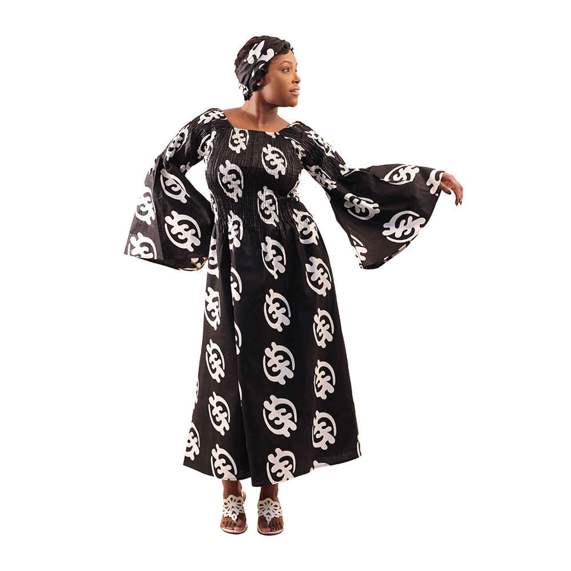 Picture of Black & White Gye Nyame Stretch Dress