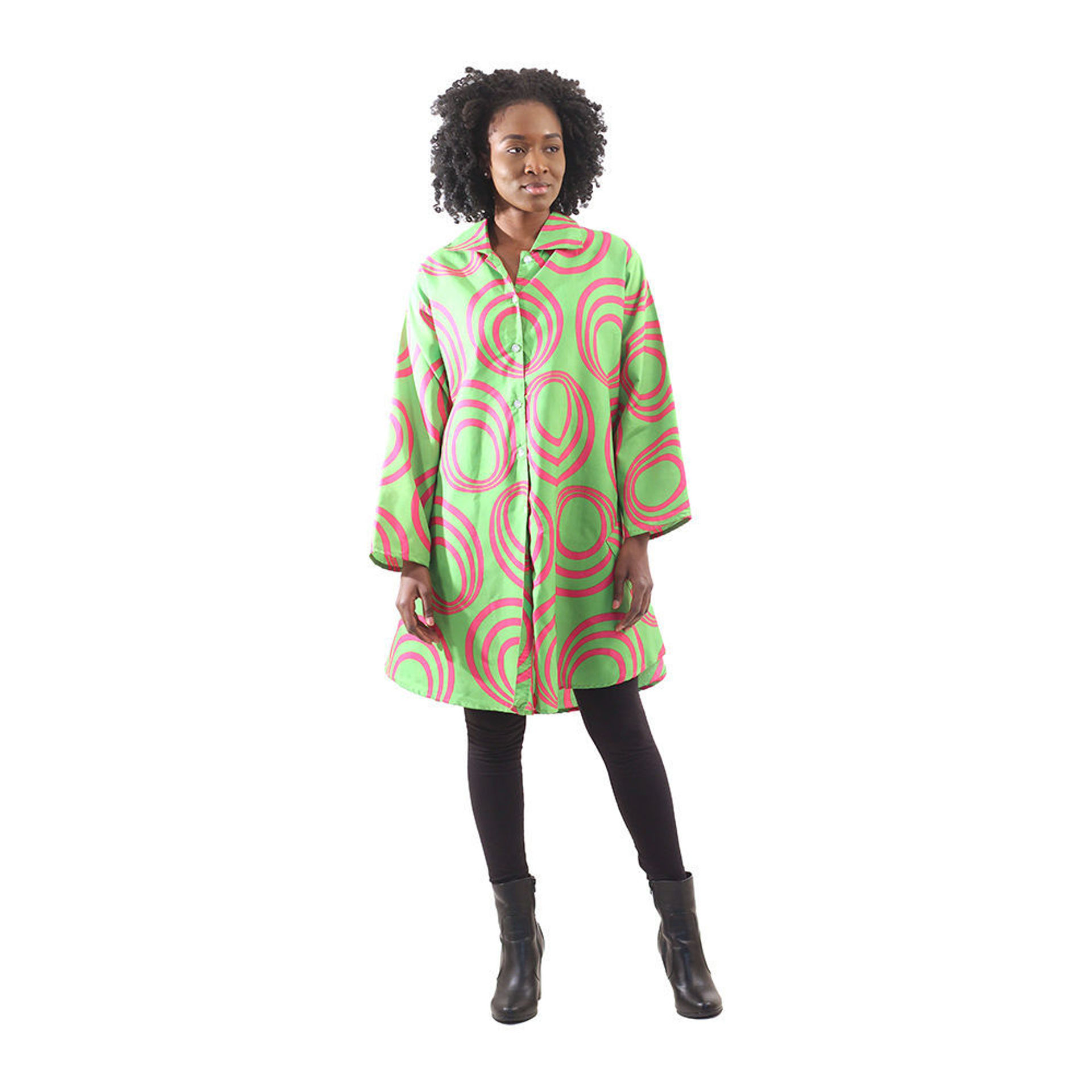 Picture of Pink/Green Hoop Print Button Shirt