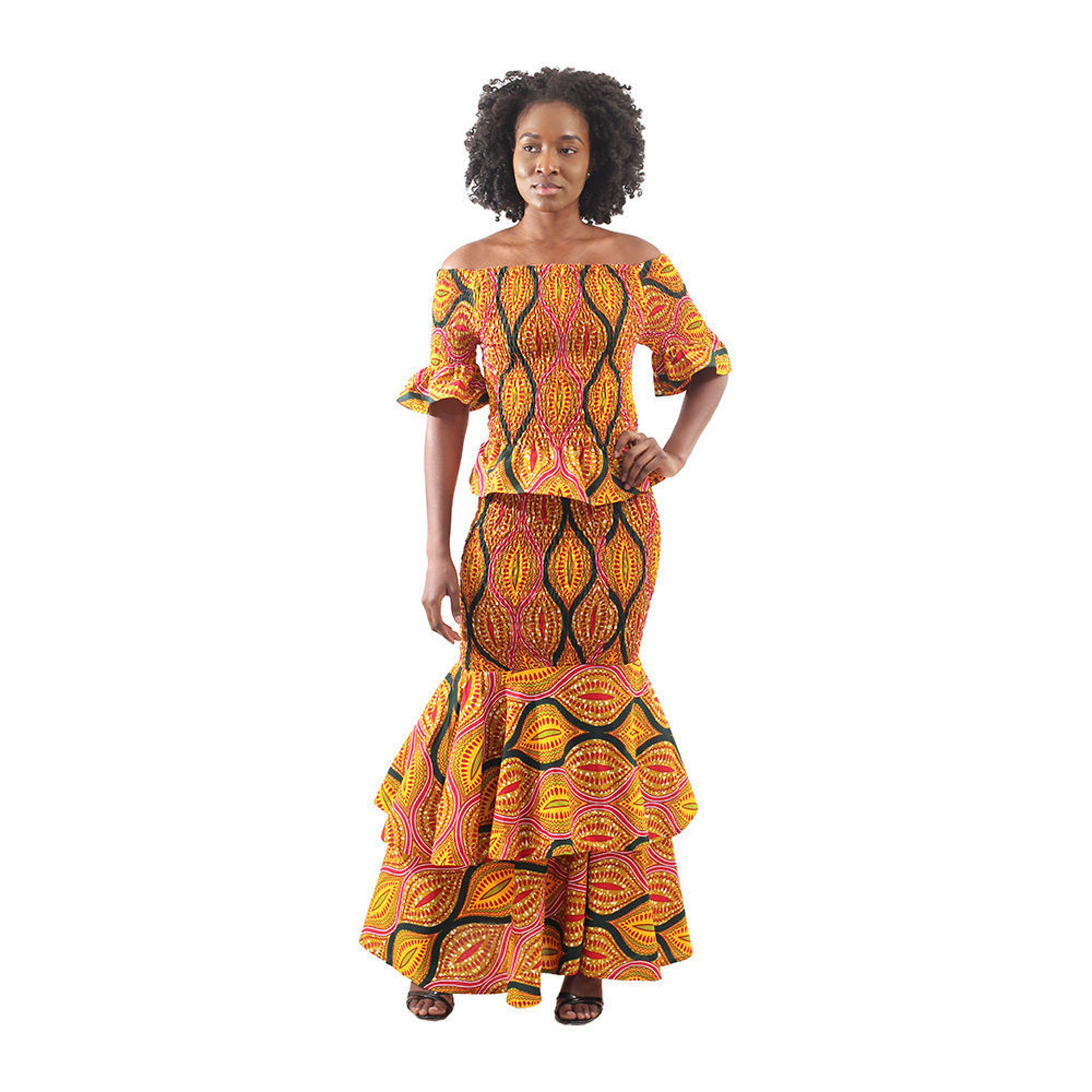 Picture of African Shell Print Elastic Skirt Set