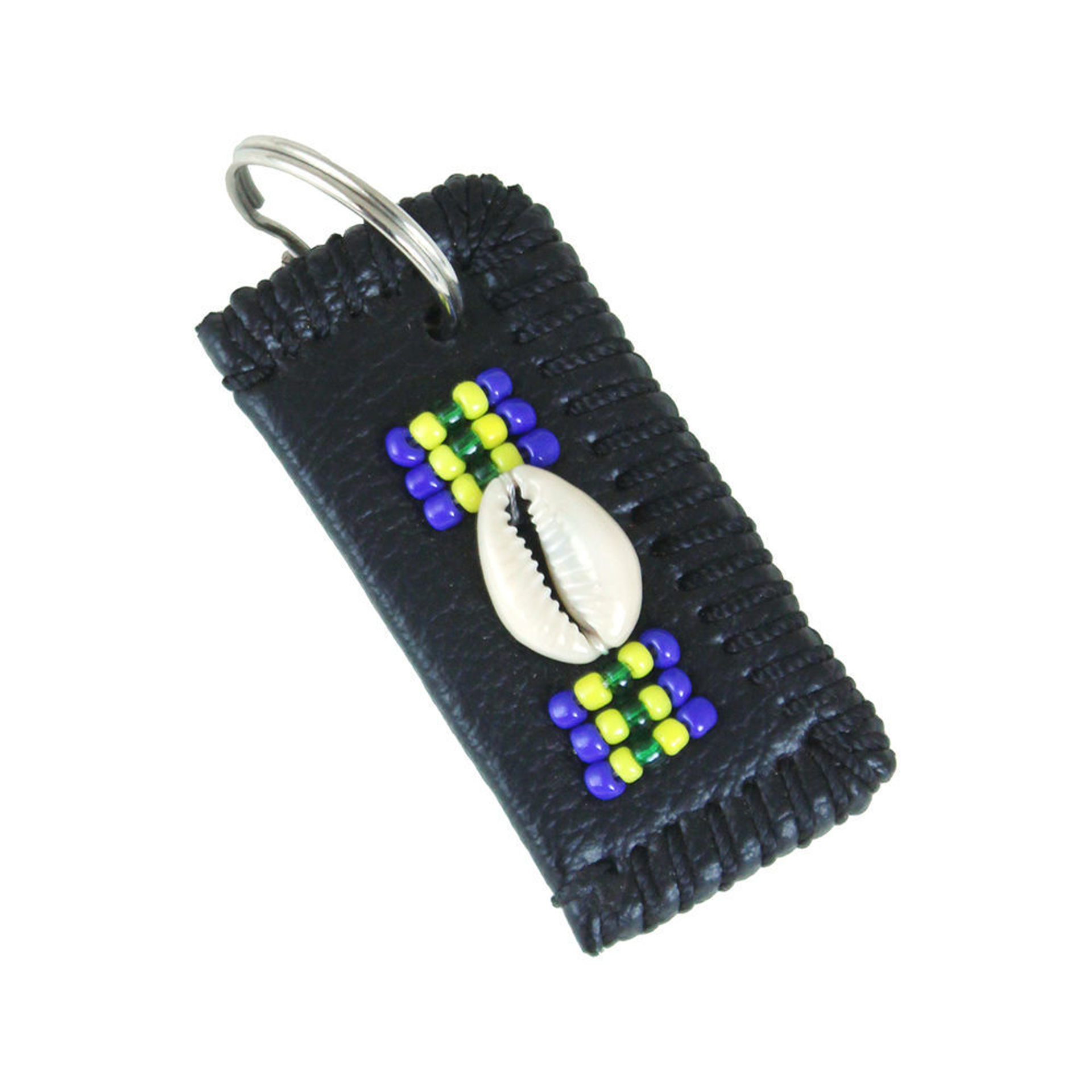 Picture of Beaded Leather Cowrie Shell Key Chain