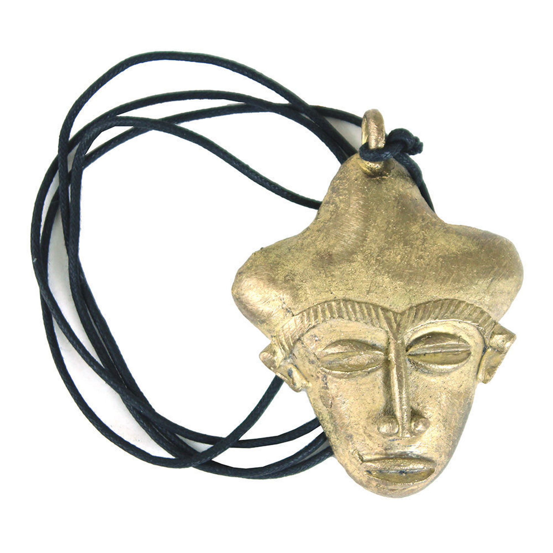 Picture of Brass Ghanaian Mask Necklace: LG