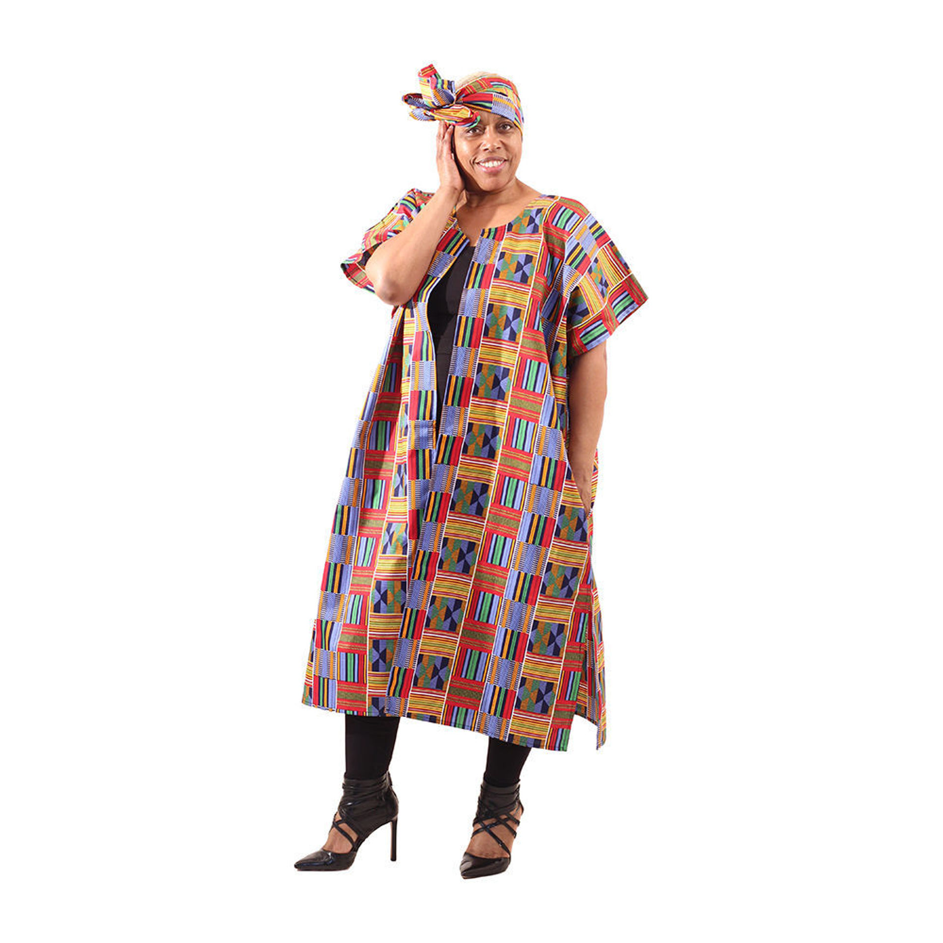 Picture of Red/Blue Kente Open Kaftan